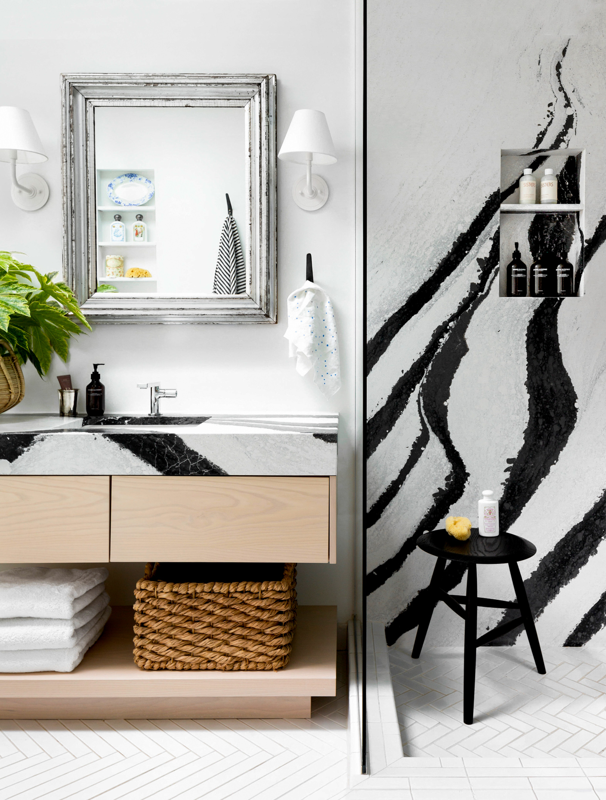 dramatic black and white modern bathroom with shower