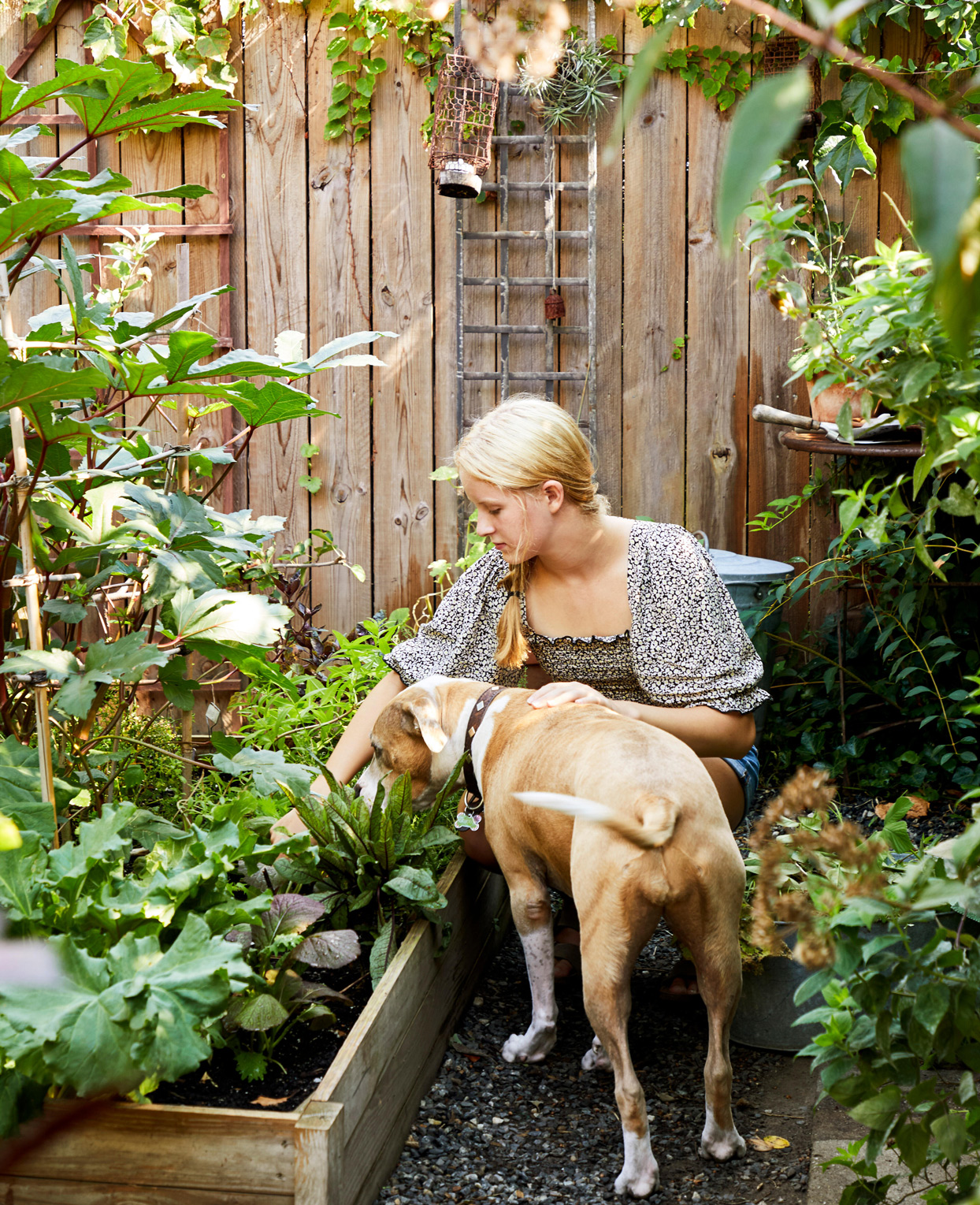 woman working in backyard garden with dog