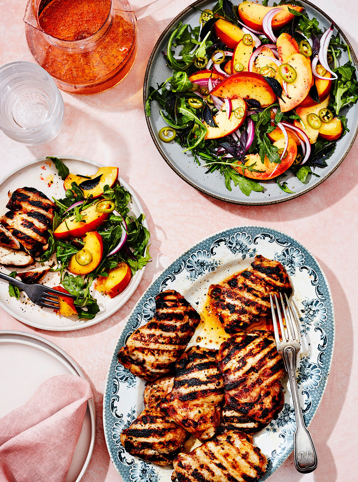 Honey-Garlic Grilled Chicken with Pickled Chiles & Peaches