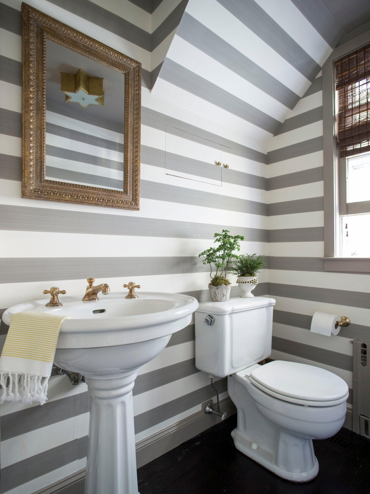 grey and white striped bathroom