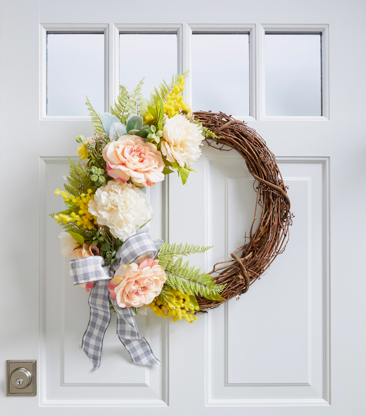 rose wreath white door
