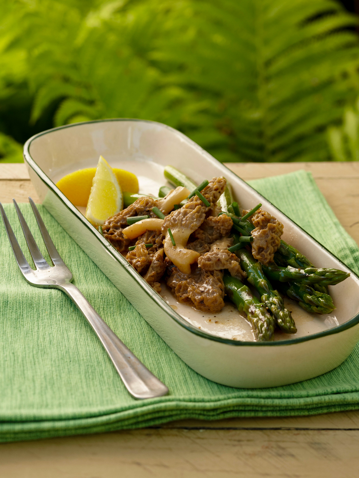Asparagus and Morels in long serving dish