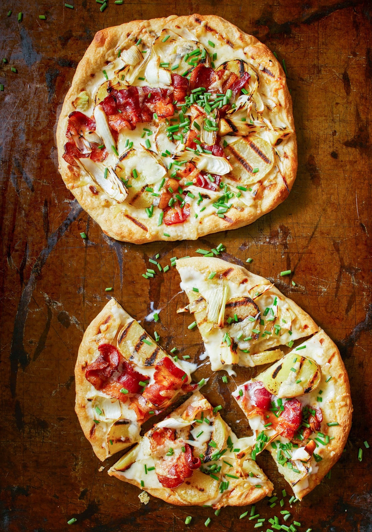 Grilled Potato Leek Pizza