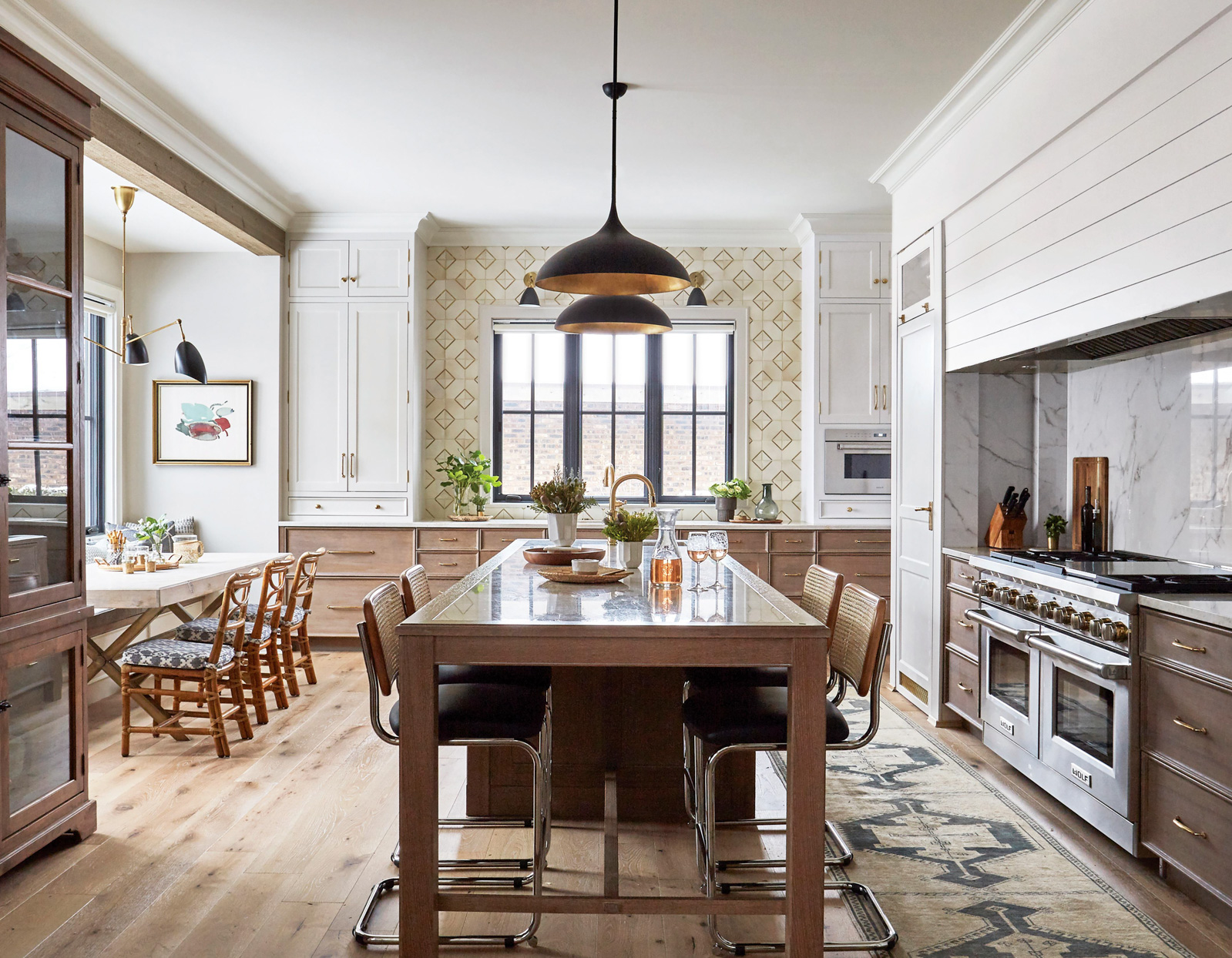 large open kitchen long island trimmed marble