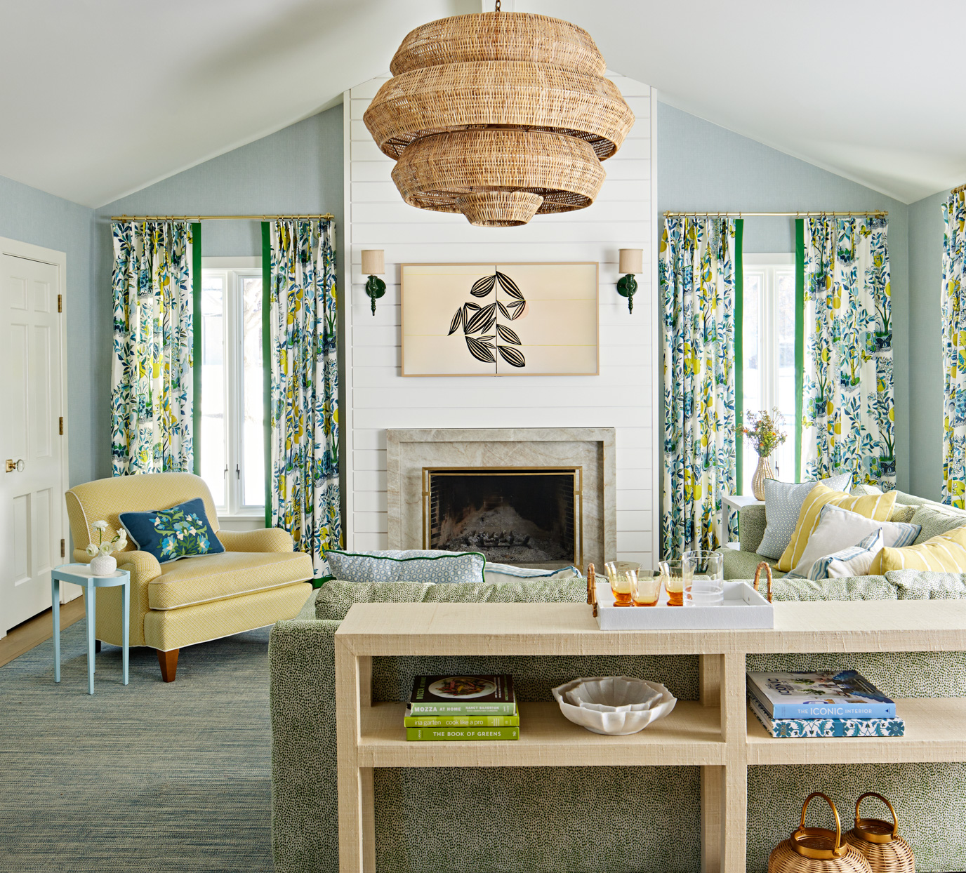 living room with green printed accents