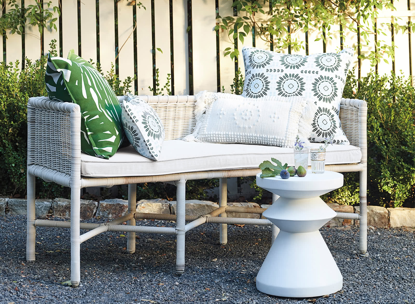 serena and lily white woven garden bench