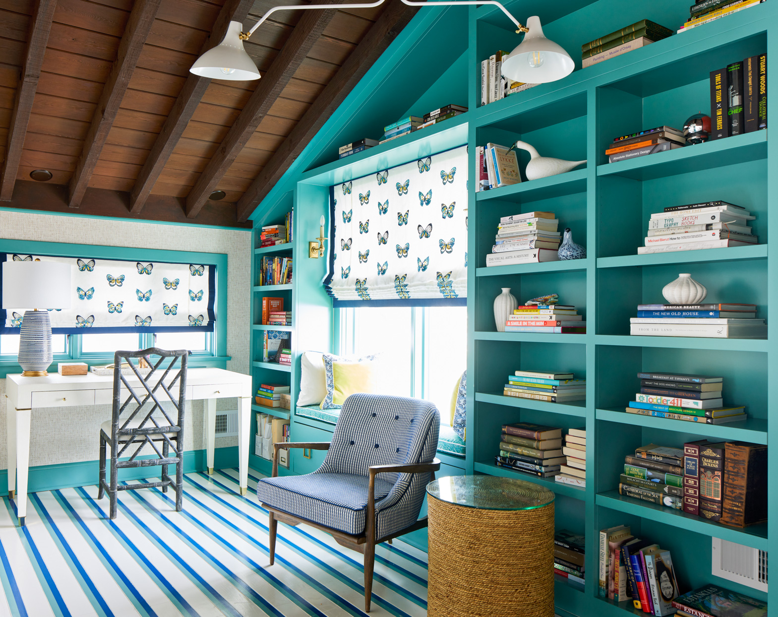 teal built in cabinets and daybed