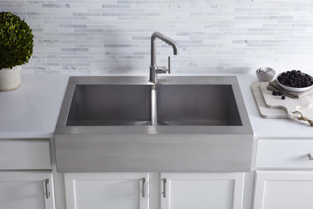 stainless-steel apron front kitchen sink