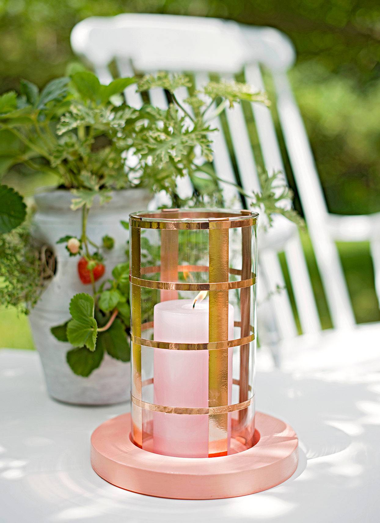 candle copper washi tape pink base outdoor table centerpiece
