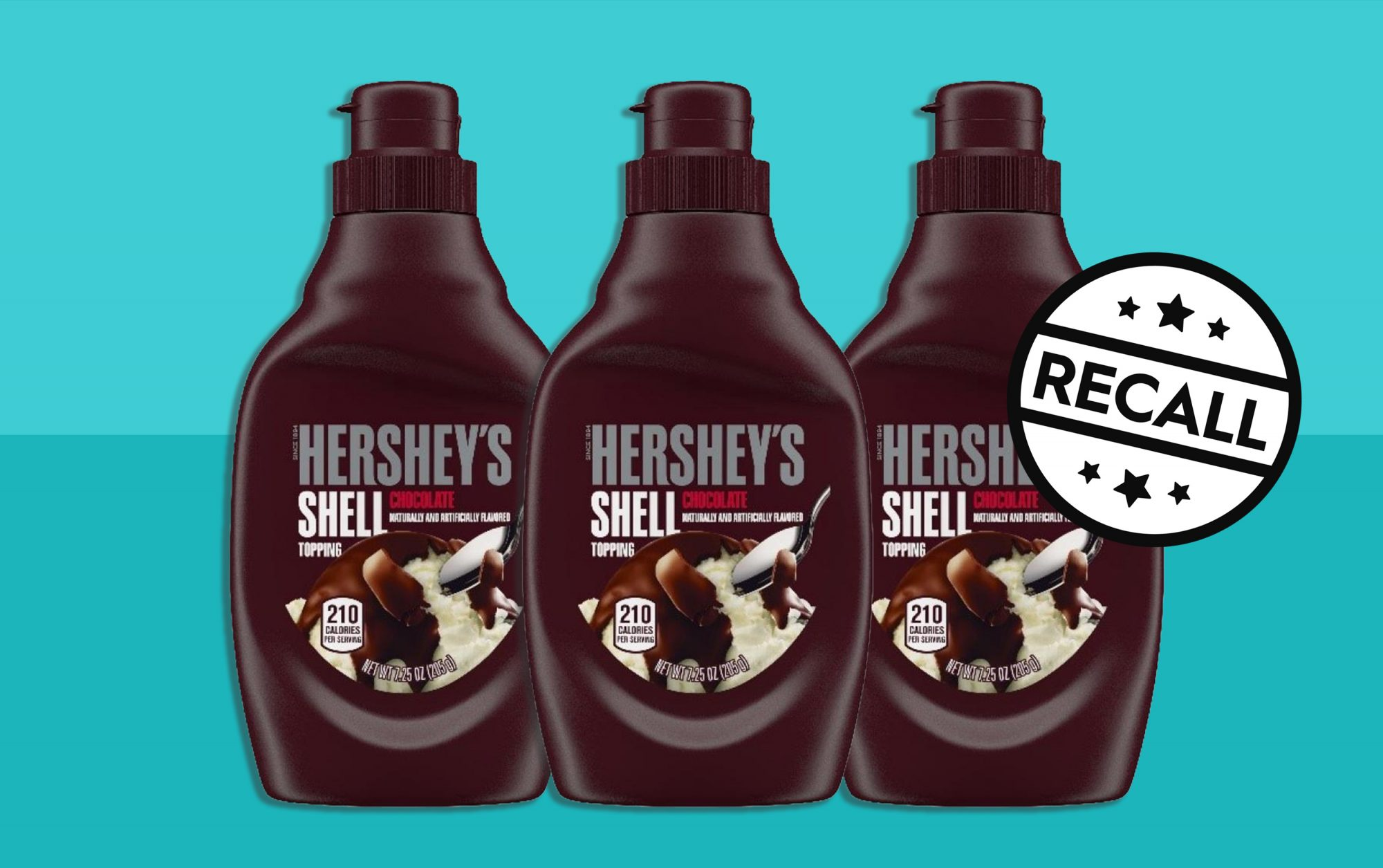 hershey's shell topping on turquoise background with recall stamp