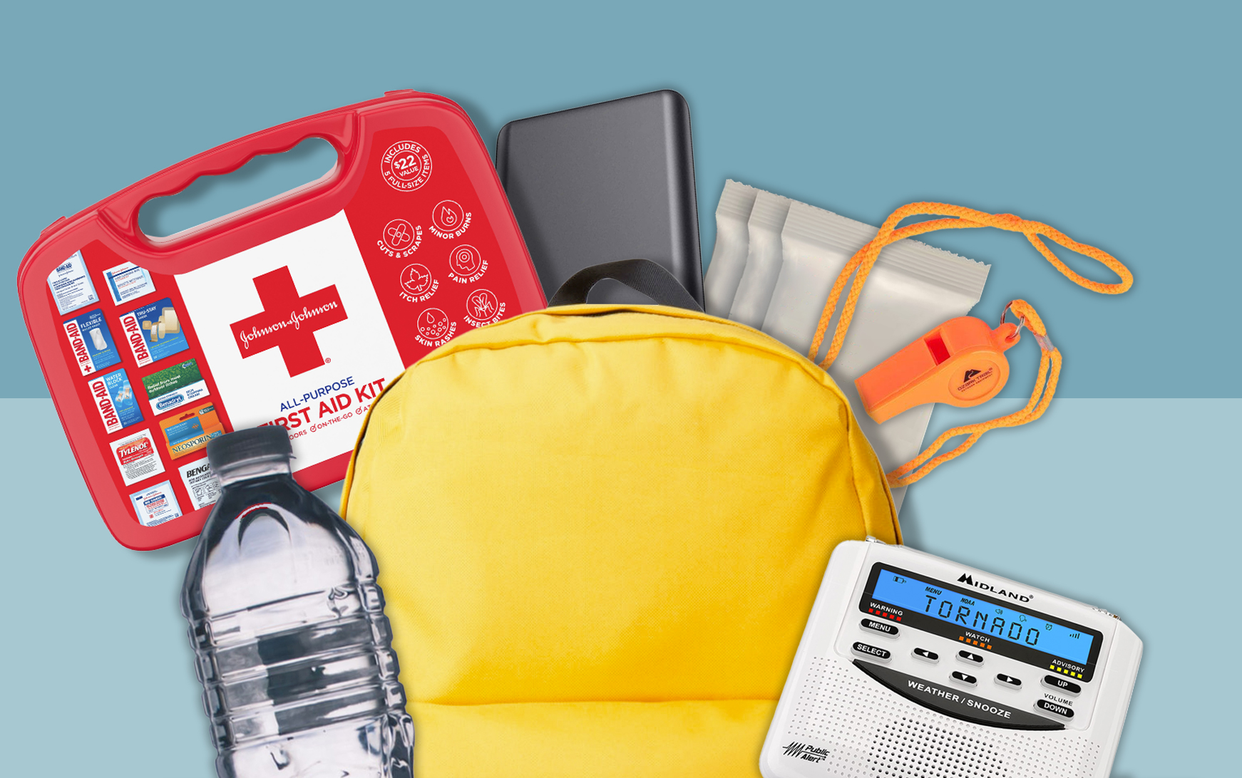 emergency kit items with yellow backpack on blue backgrouond
