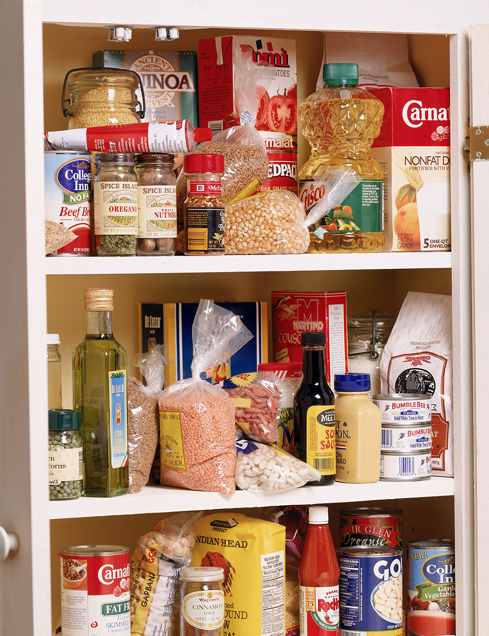 food items in home pantry closet shelf