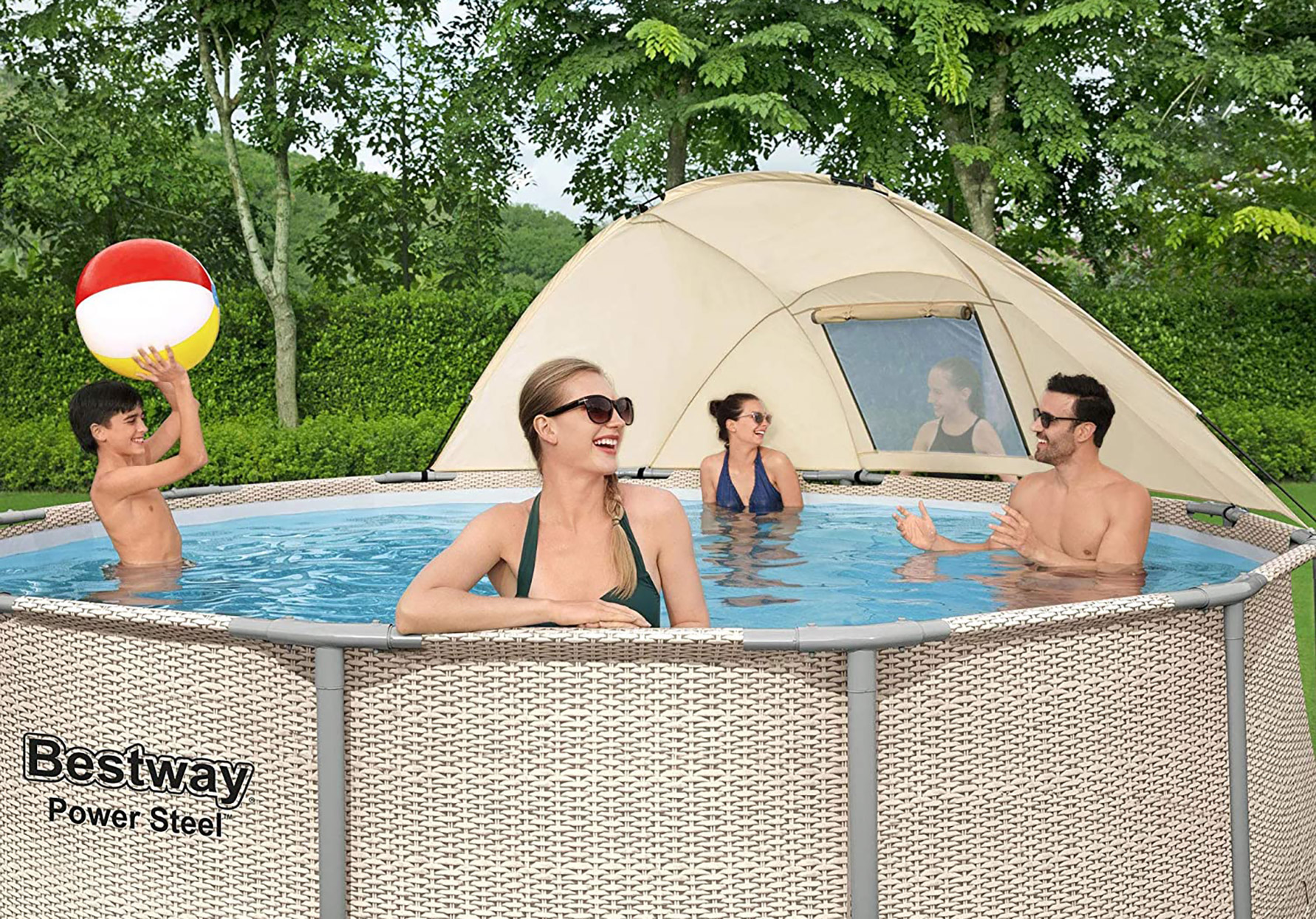 family and children swimming in bestway power steel above ground pool