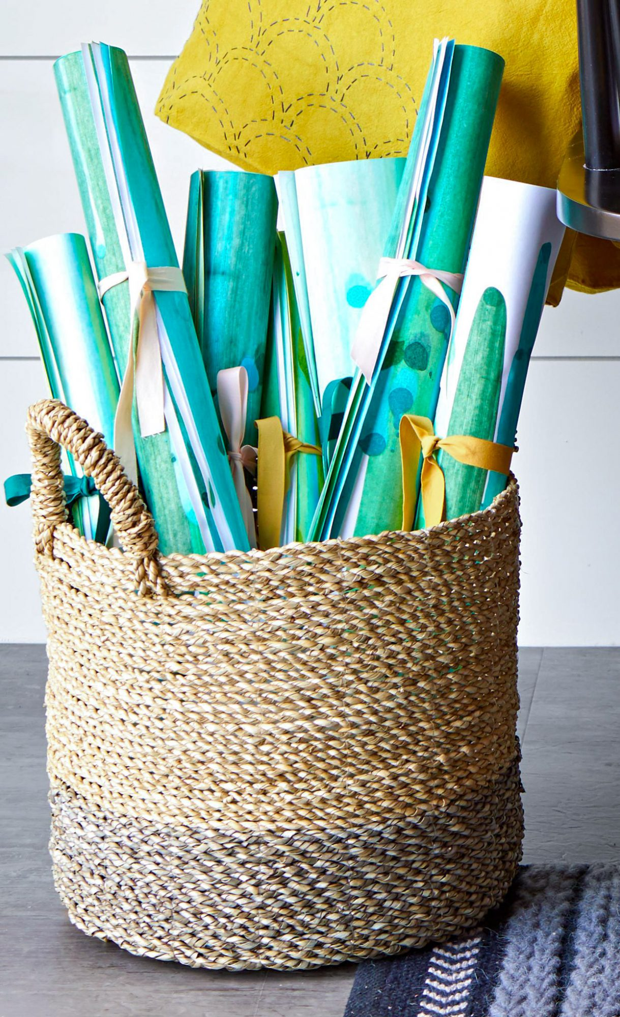 Blue and green wrapping paper in a basket