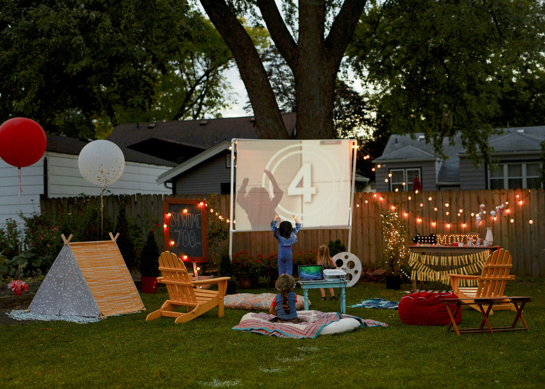 outdoor movie party with projector