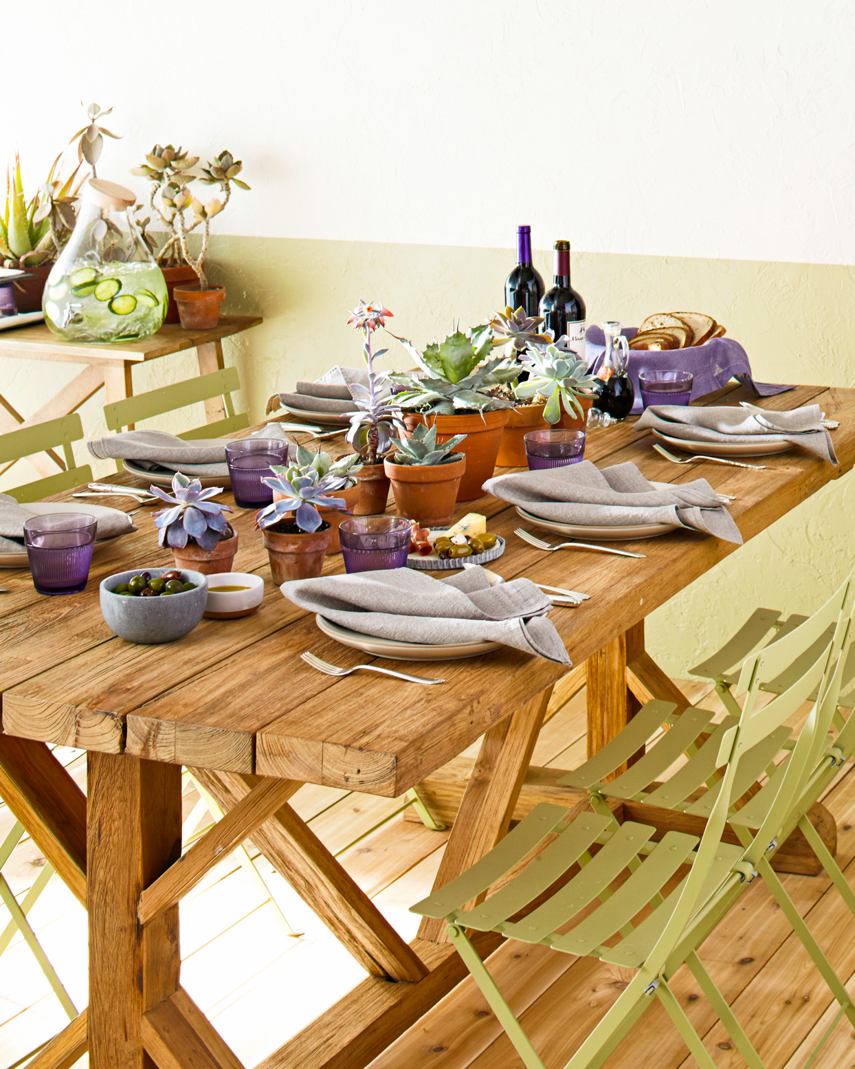 table set with succulents