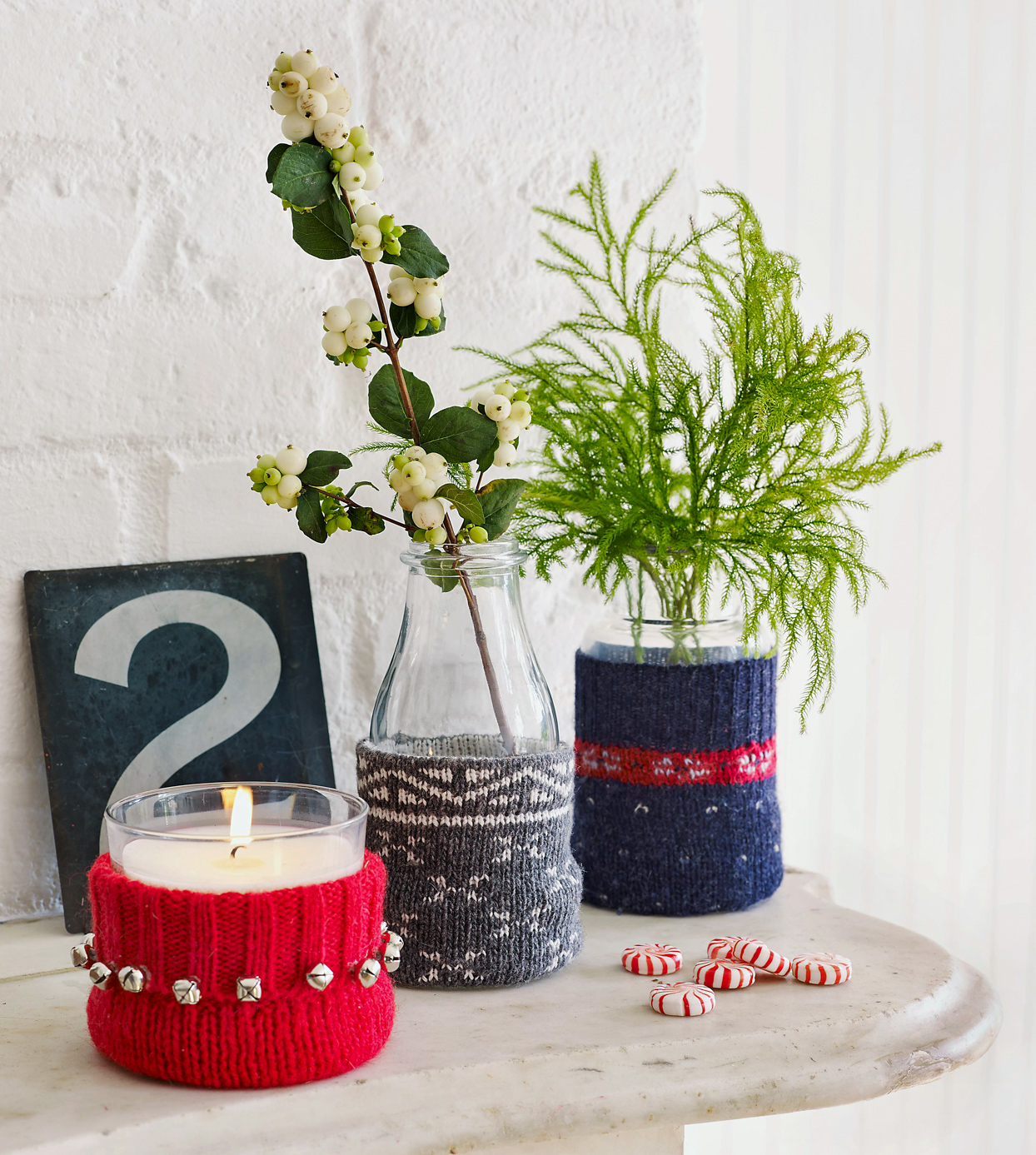 Faux-Knitted Vase Wraps