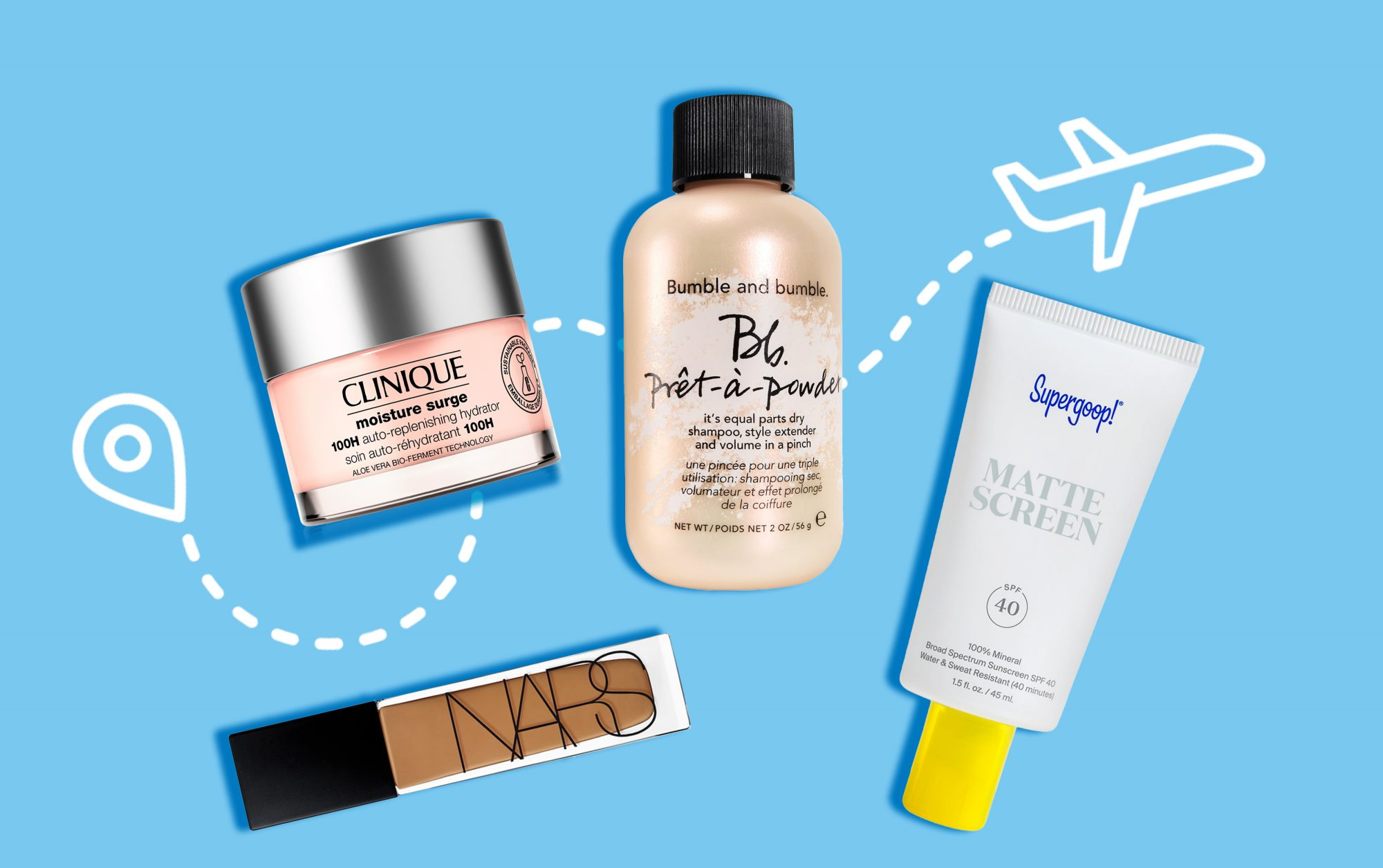 tsa approved beauty products on blue background