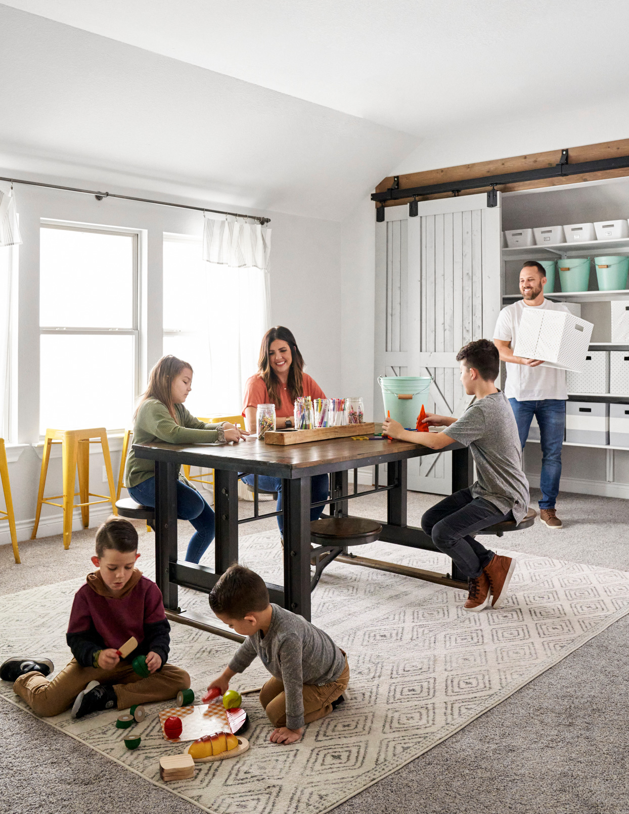 family at wooden table