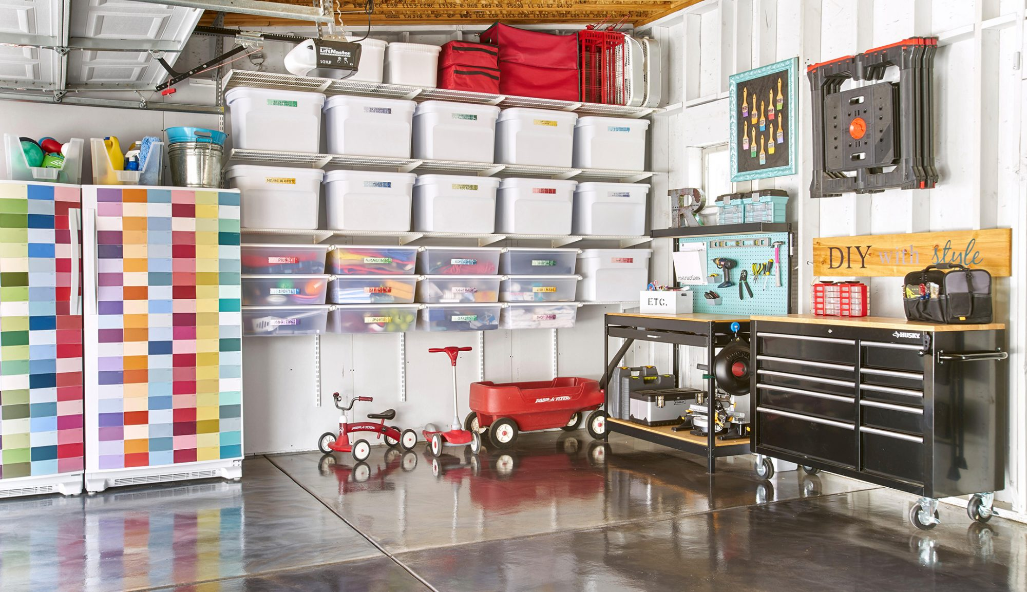organized garage corner labeled totes work area ride-on toys