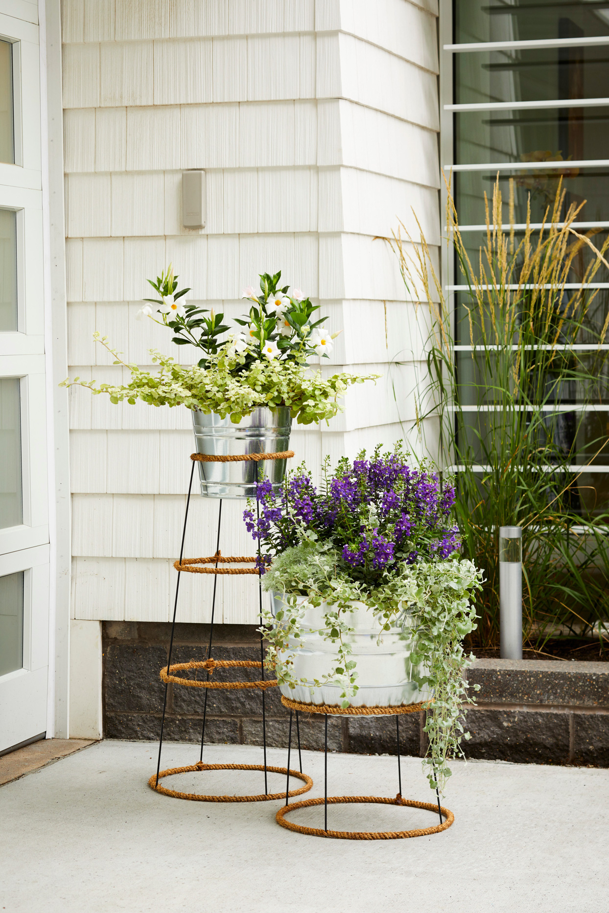 tapered circle planters tomato cage rope-wrapped farmhouse plant stands front stoop
