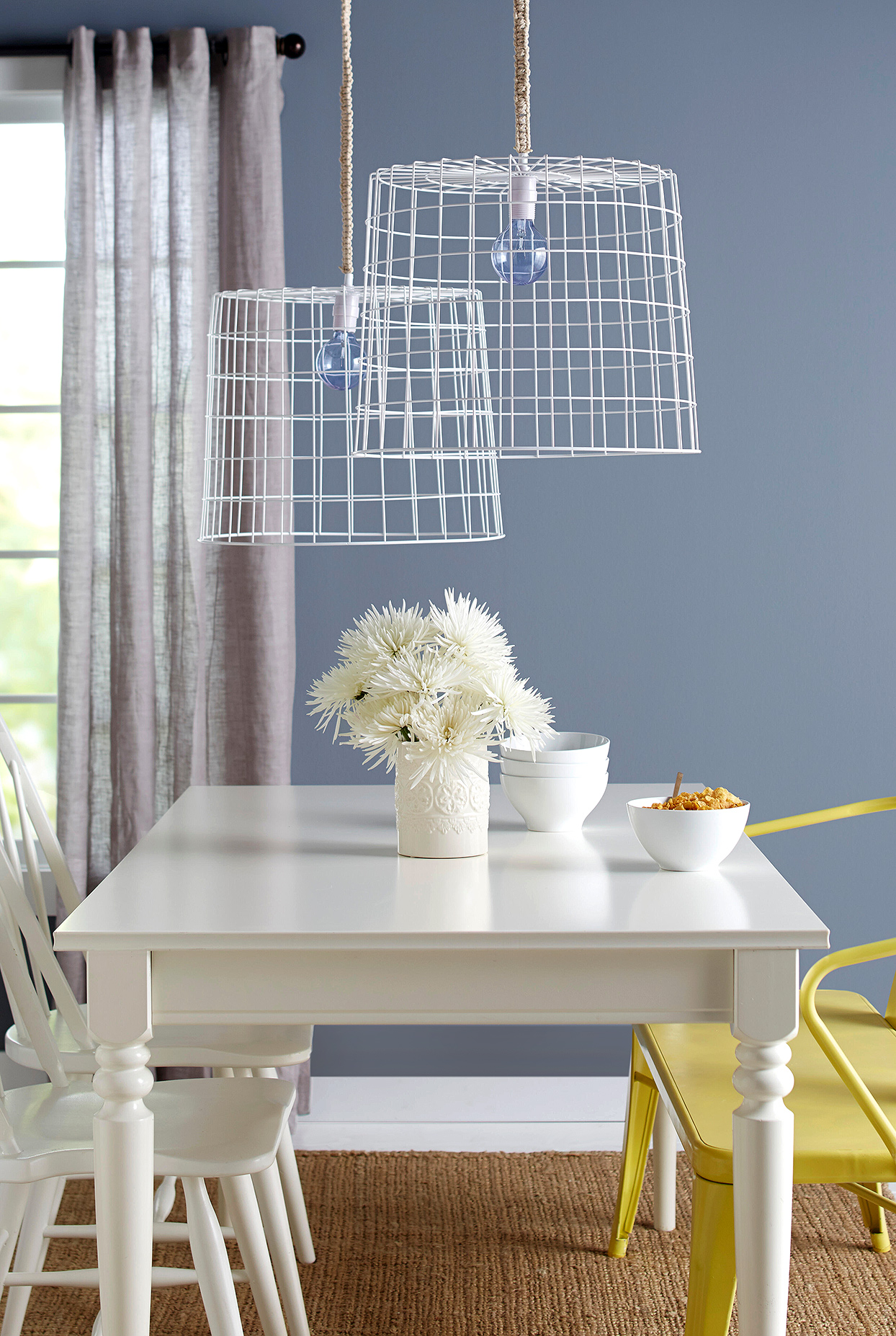 wire basket lampshade diy macrame cord wrap dining room