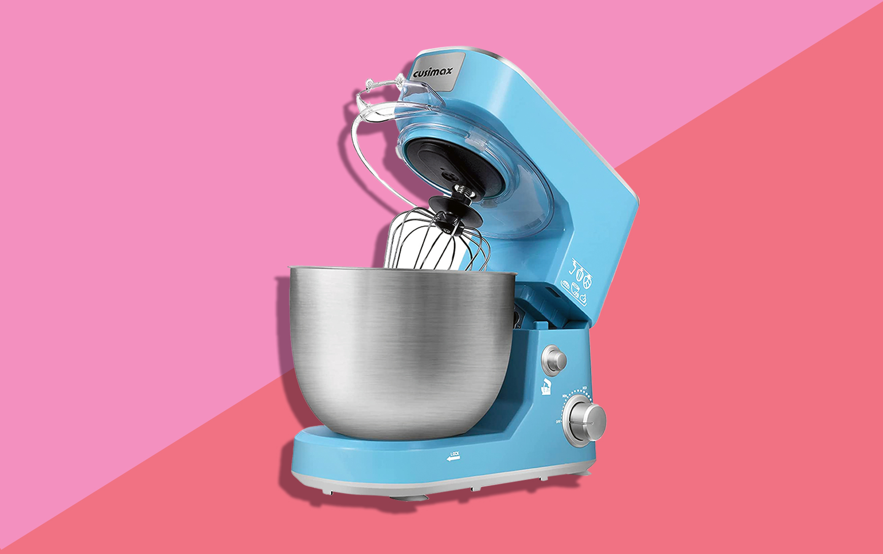 blue cusimax stand mixer on pink background