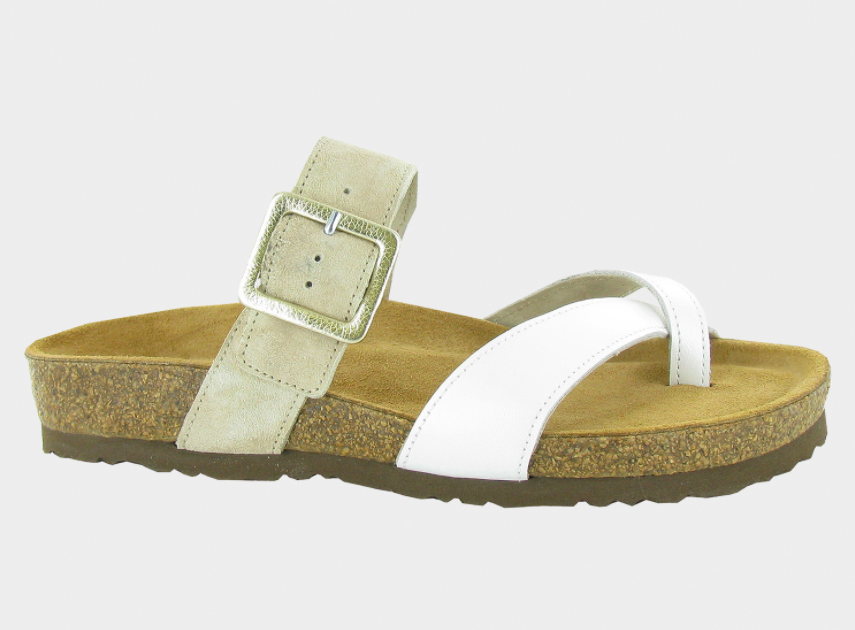 white and brown sandal