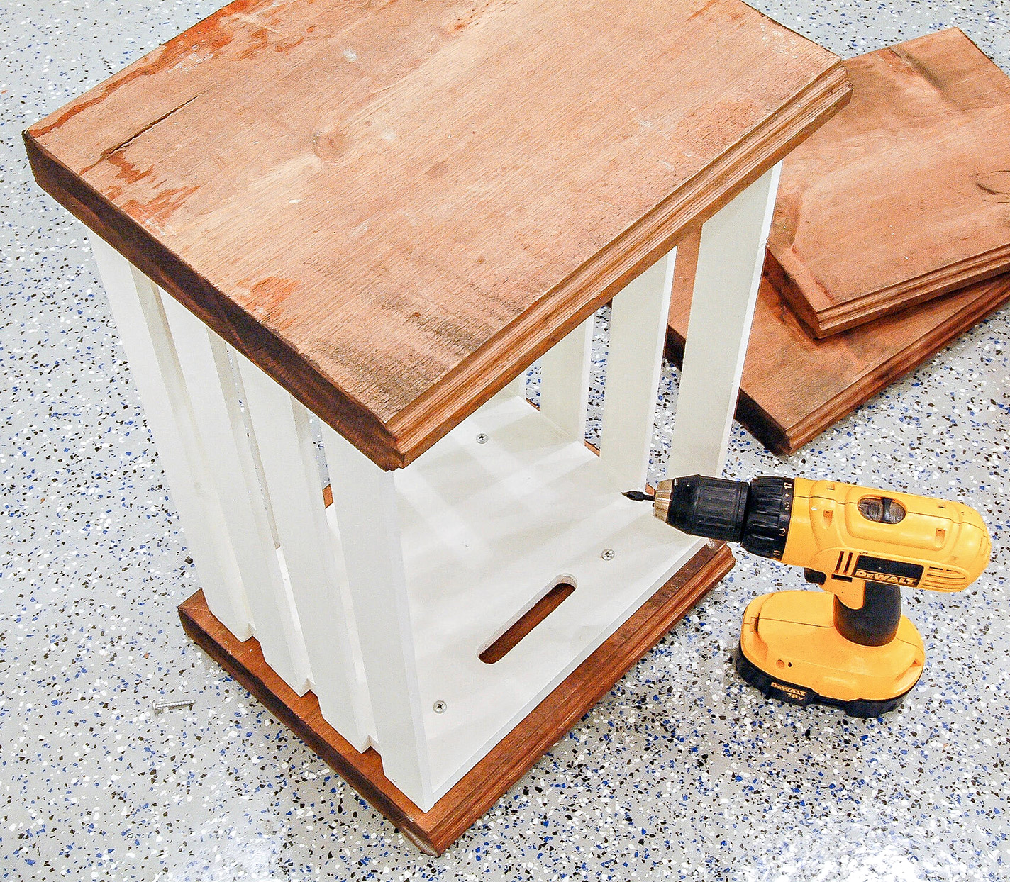 crate cabinet diy bases crates electric screwdriver drill