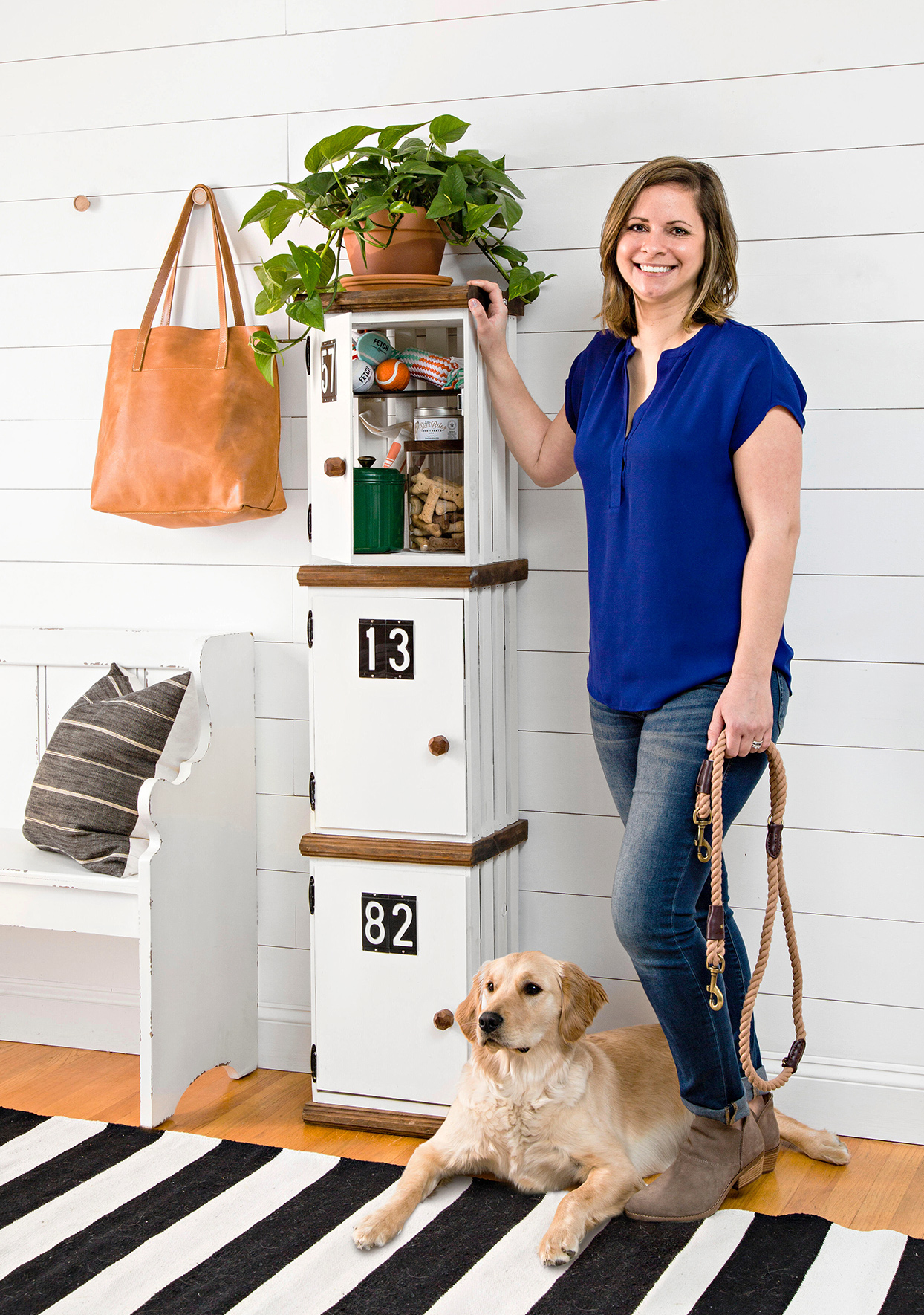 woman diy crate cabinet dog numbers plant shiplap