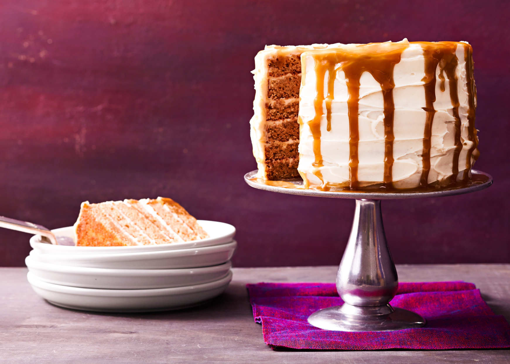 apple cider cake with butterscotch frosting