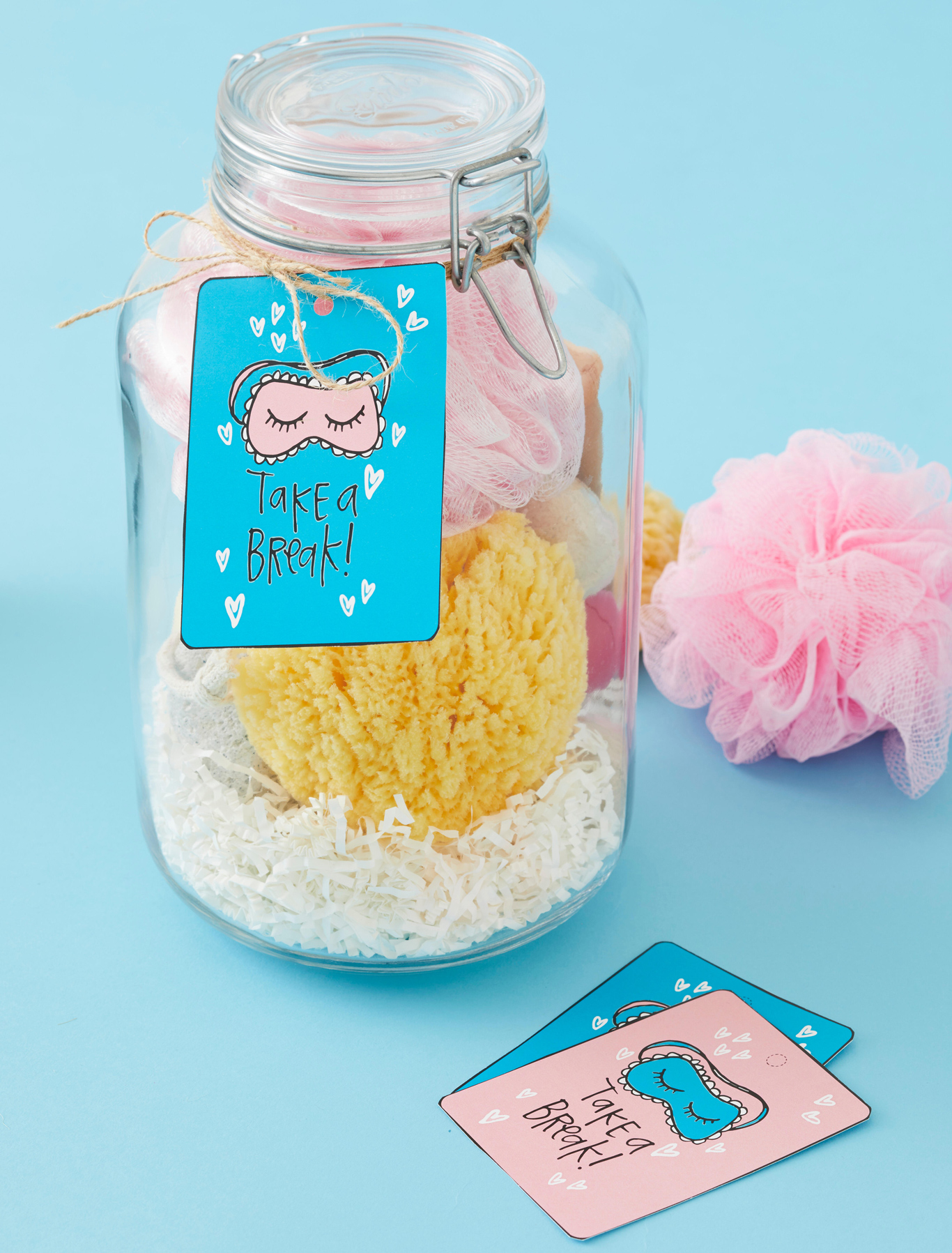 spa break gift jar with tags
