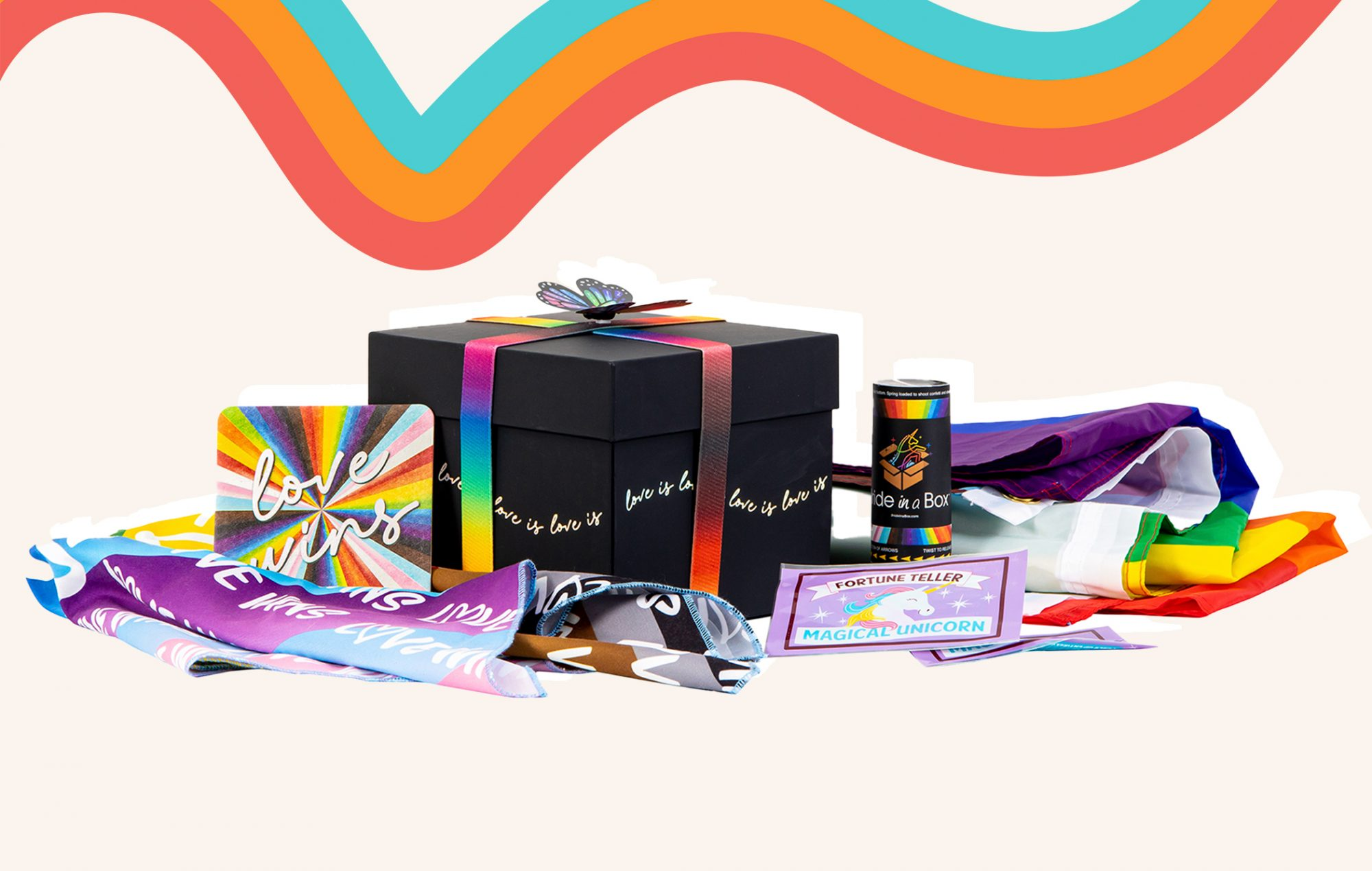 pride in a box delivery on colorful background