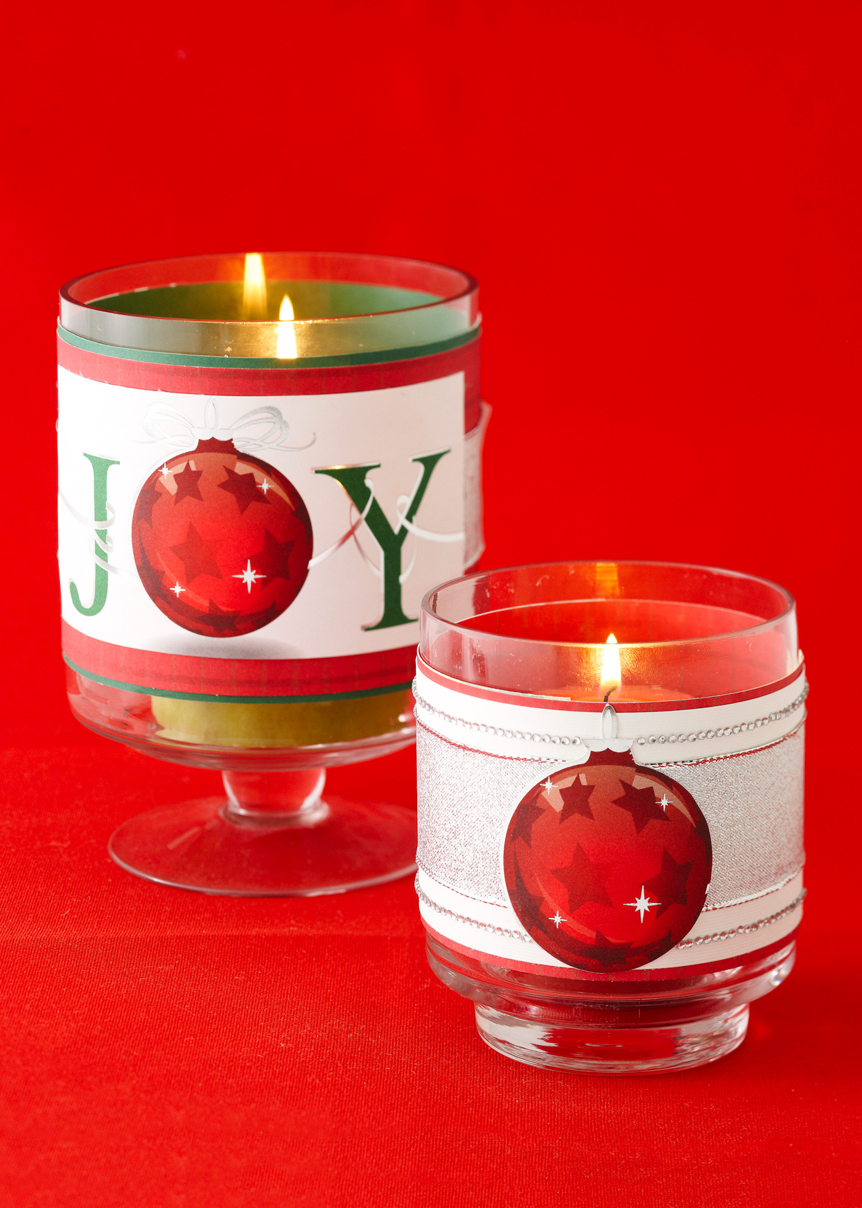 Christmas Card Candle holders