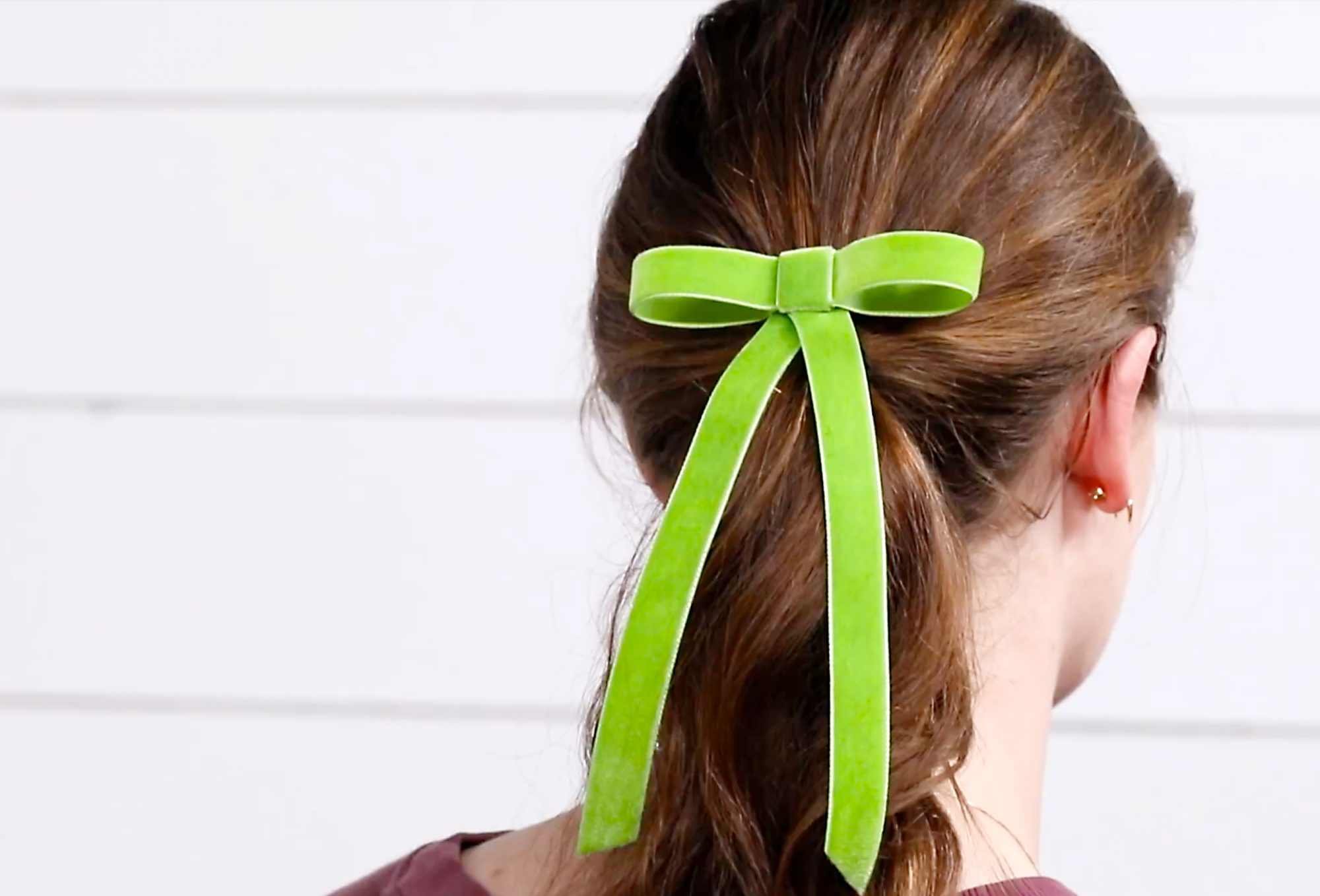 made by me velvet green bow tie in ponytail