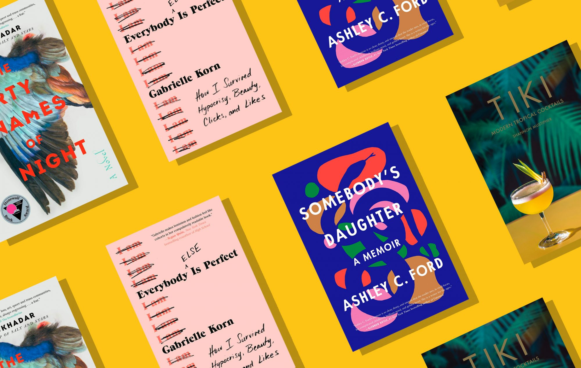 books by LGBTQ authors on yellow background