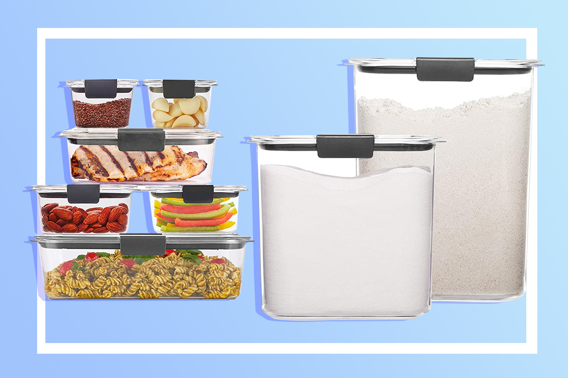 rubbermaid tupperware on blue background on sale for prime day