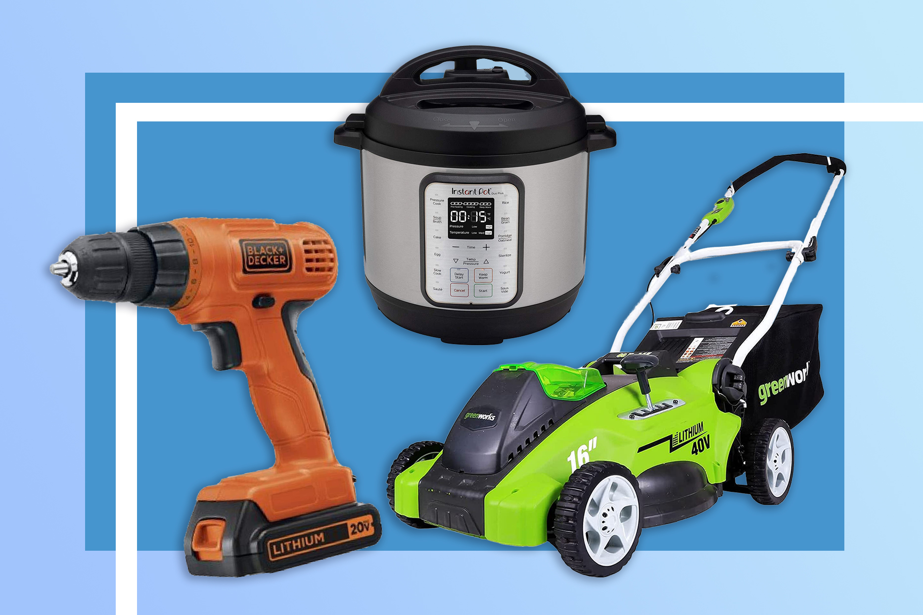 drill, instant pot and mower on blue background from prime day deals