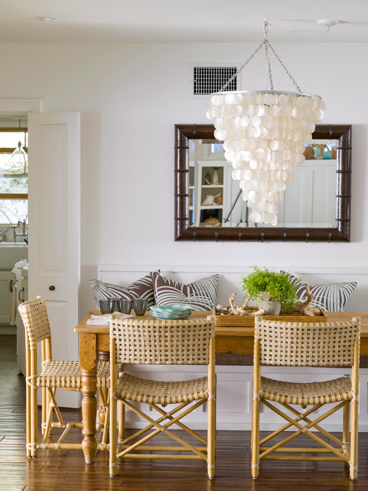 armless wicker chairs dining room