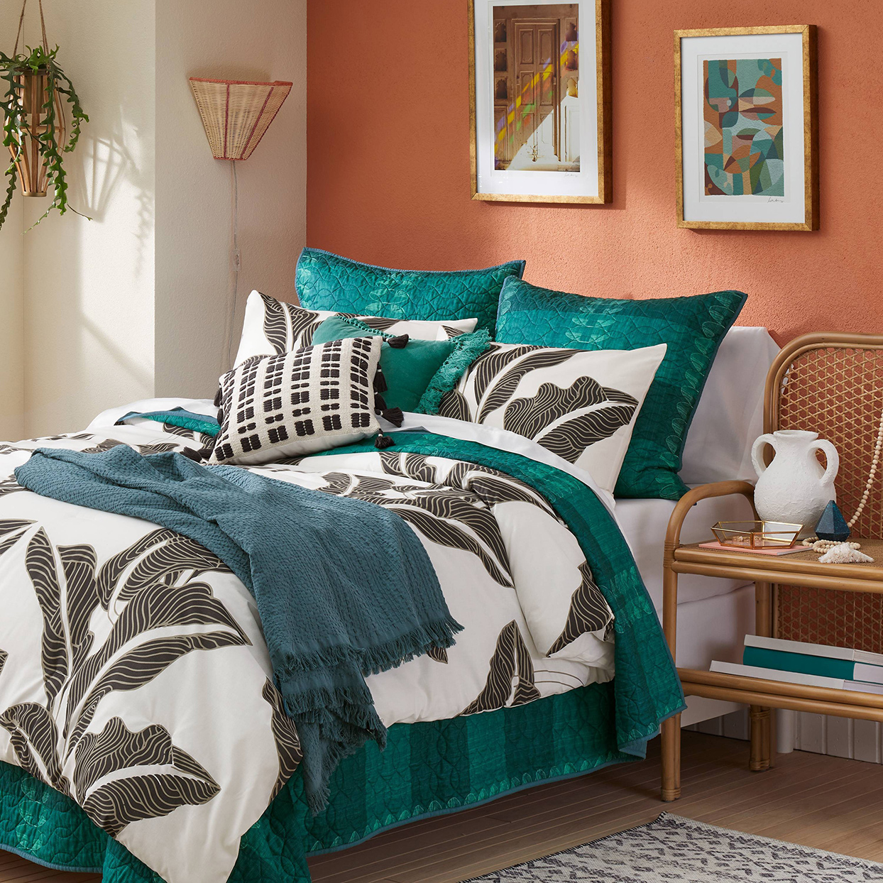 colorful decorated bedding with leaf pattern print from Jungalow collection at Target