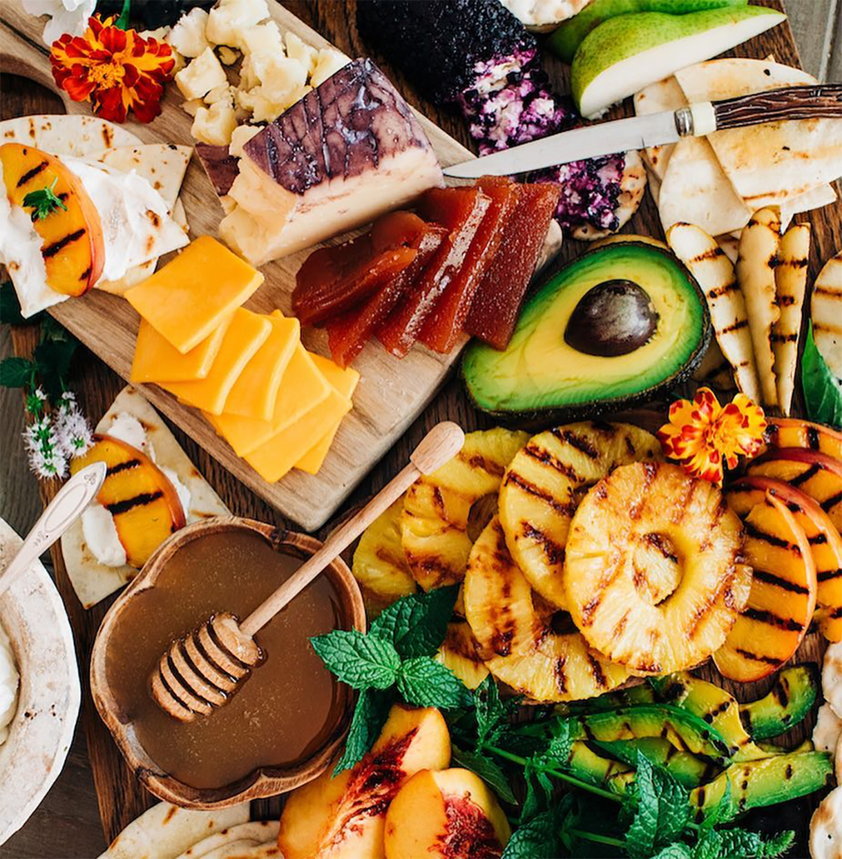 grilled fruit and cheese charcuterie board
