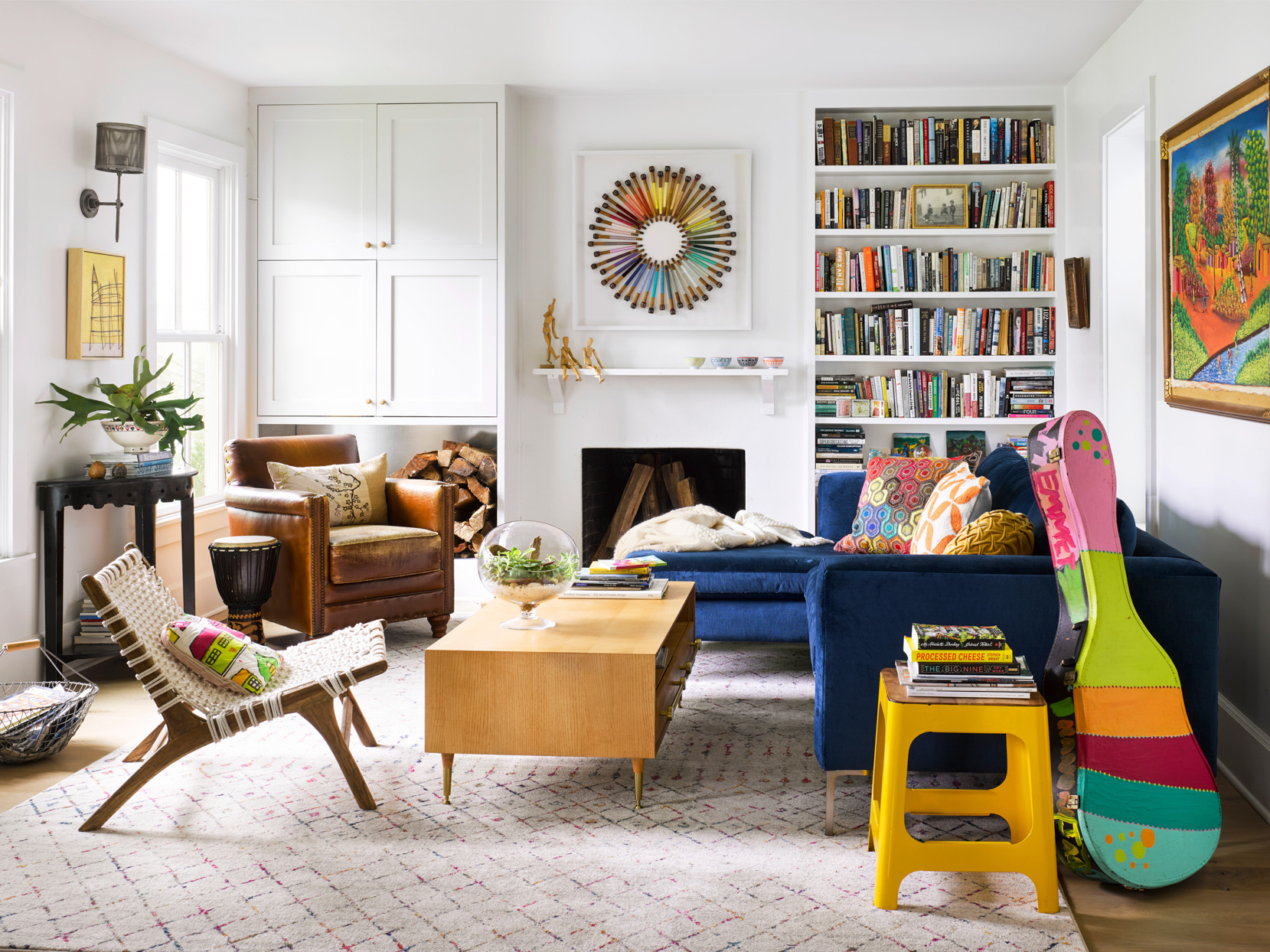 living room with colorful decor