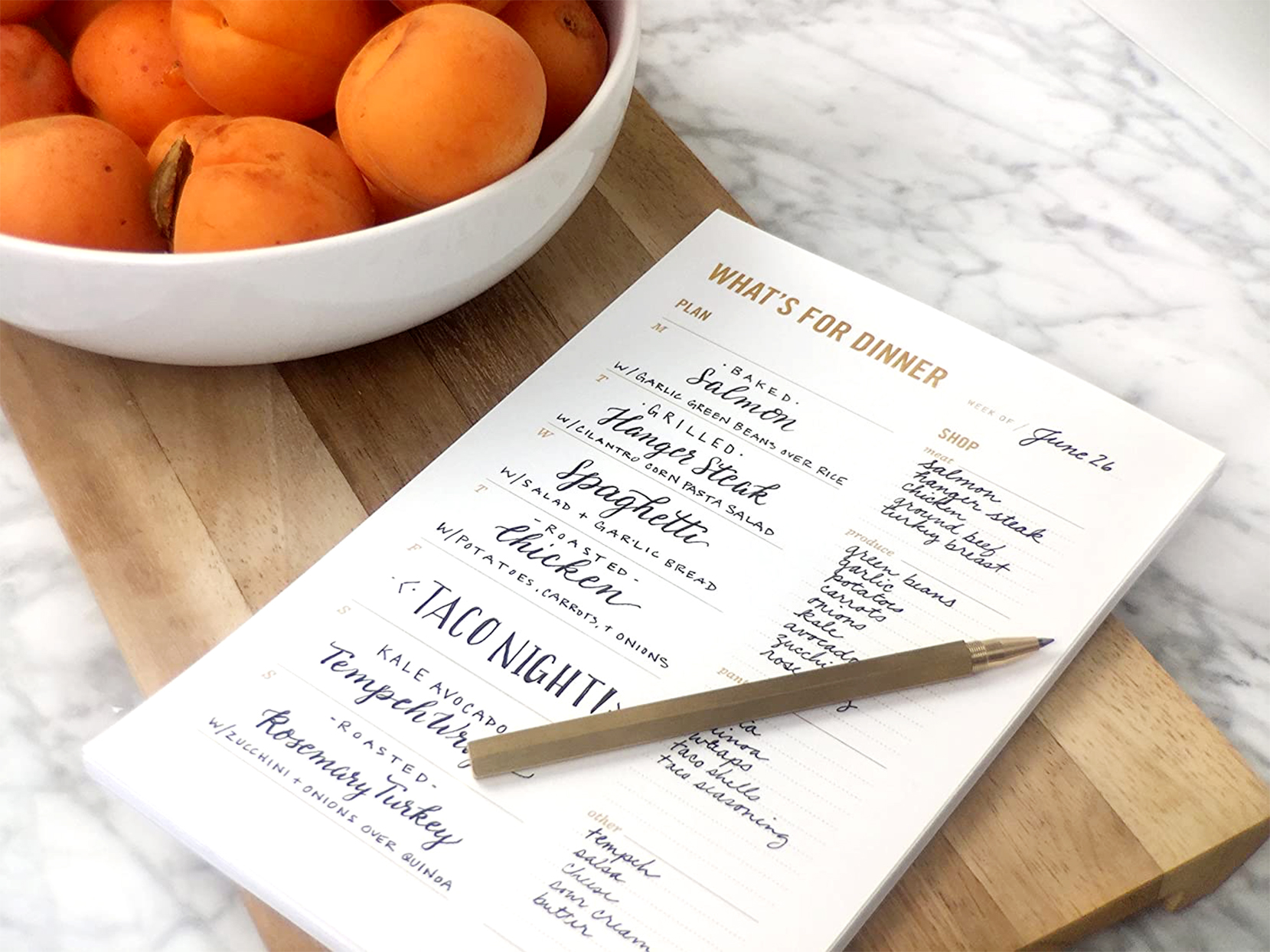 whats for dinner grocery shopping notepad