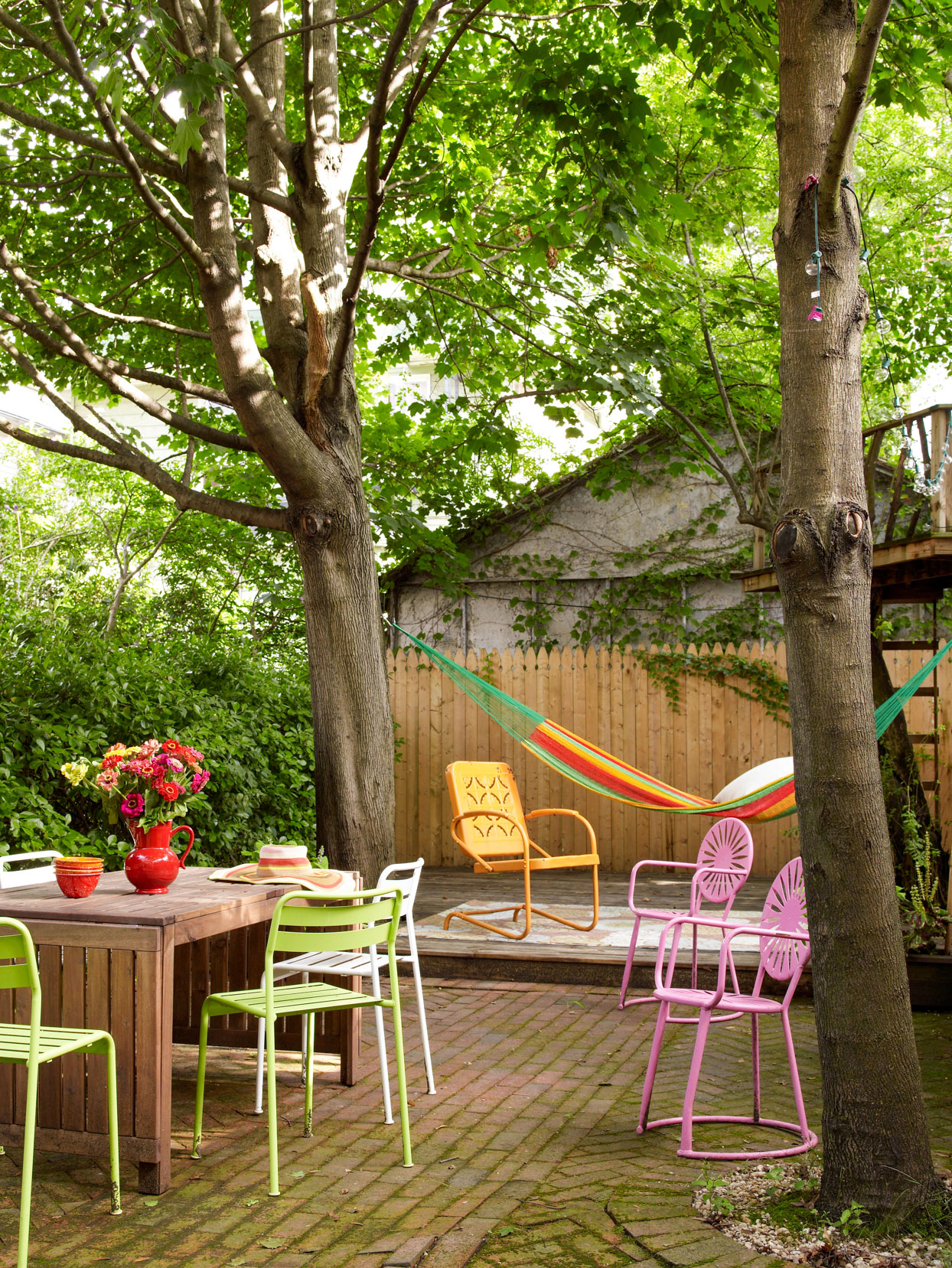 Colorful back patio