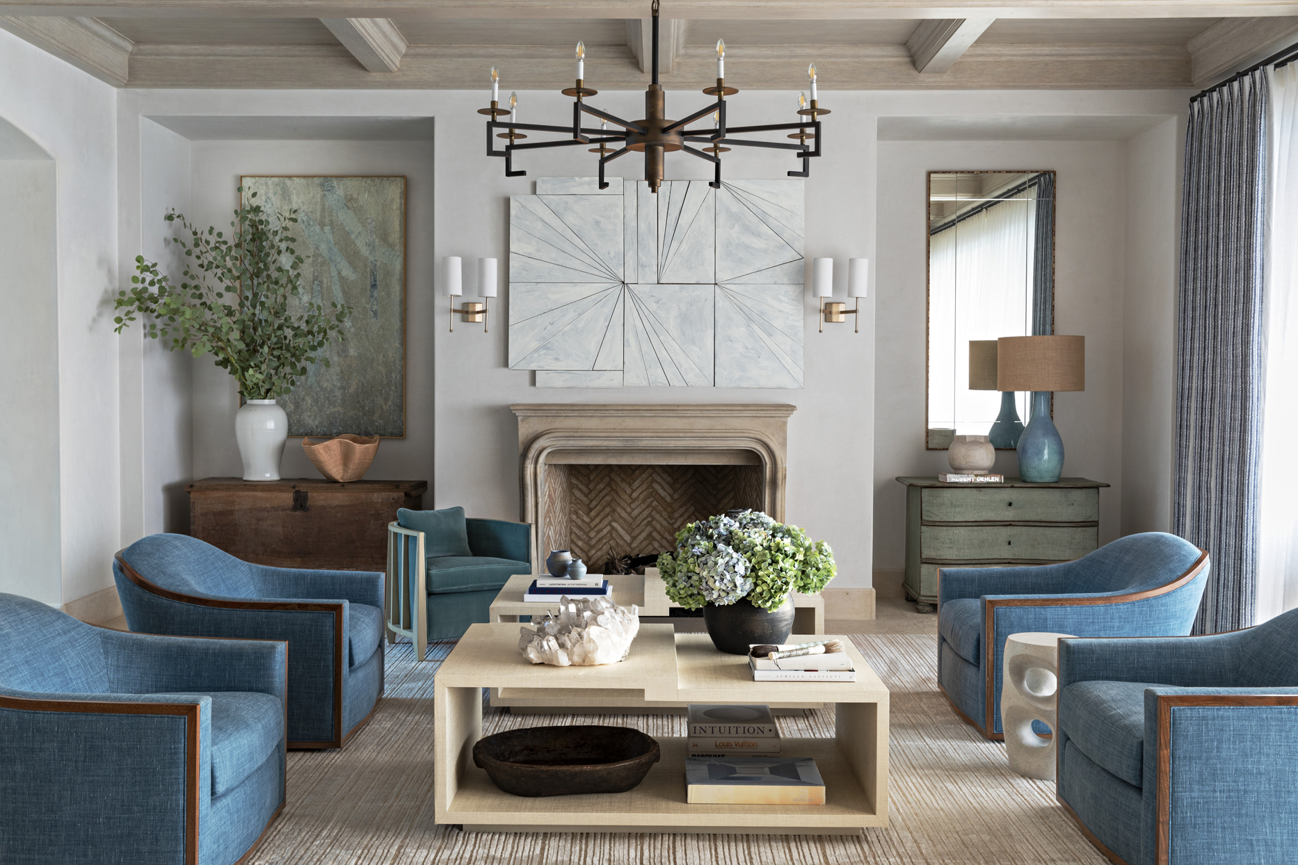 neutral-colored family room with blue accents