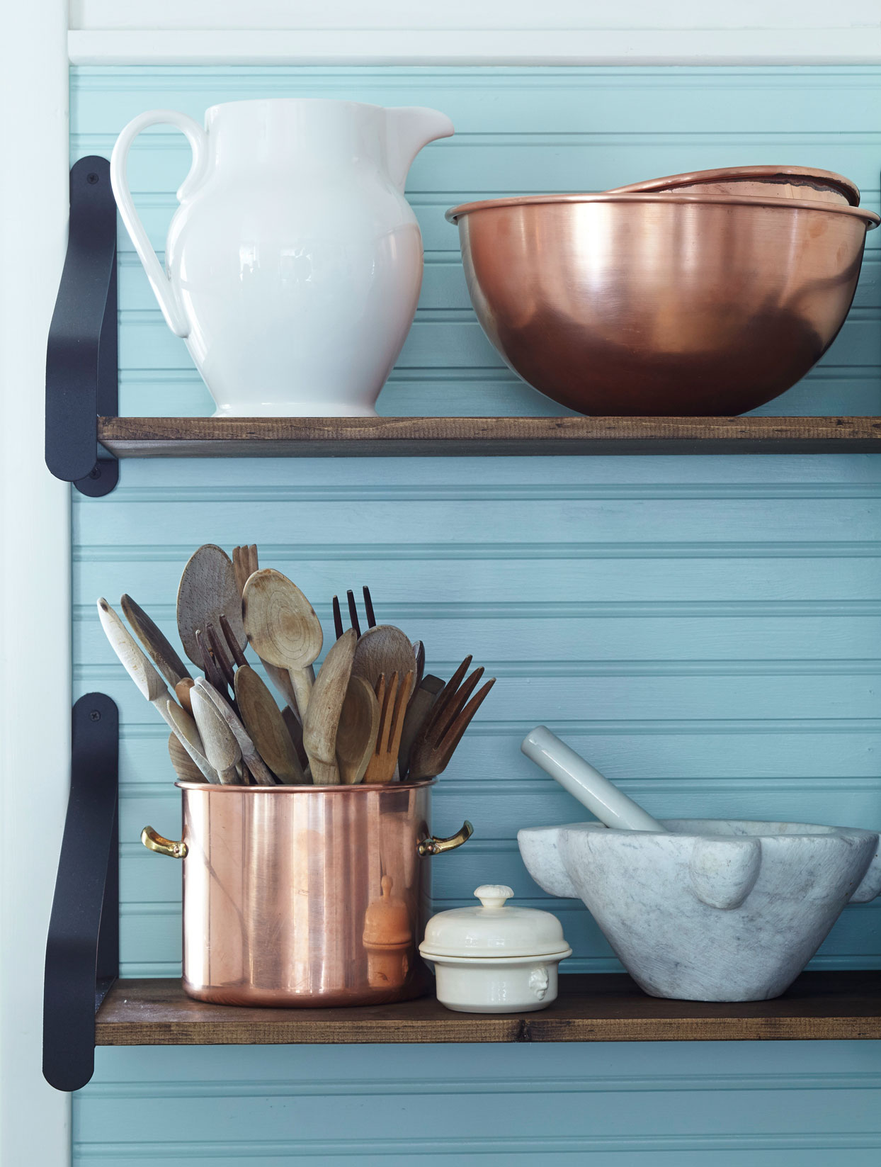 teal bead board kitchen wood shelves with copper containers