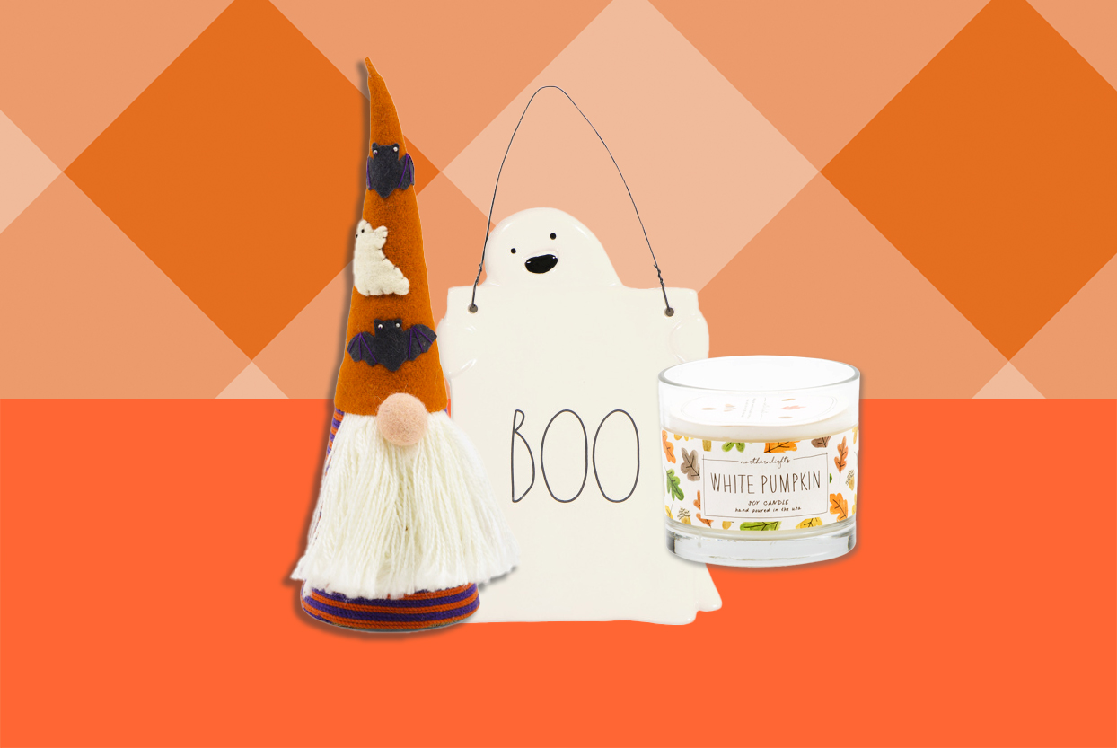 halloween decor, gnome, ghost, candle from Marshalls on orange background