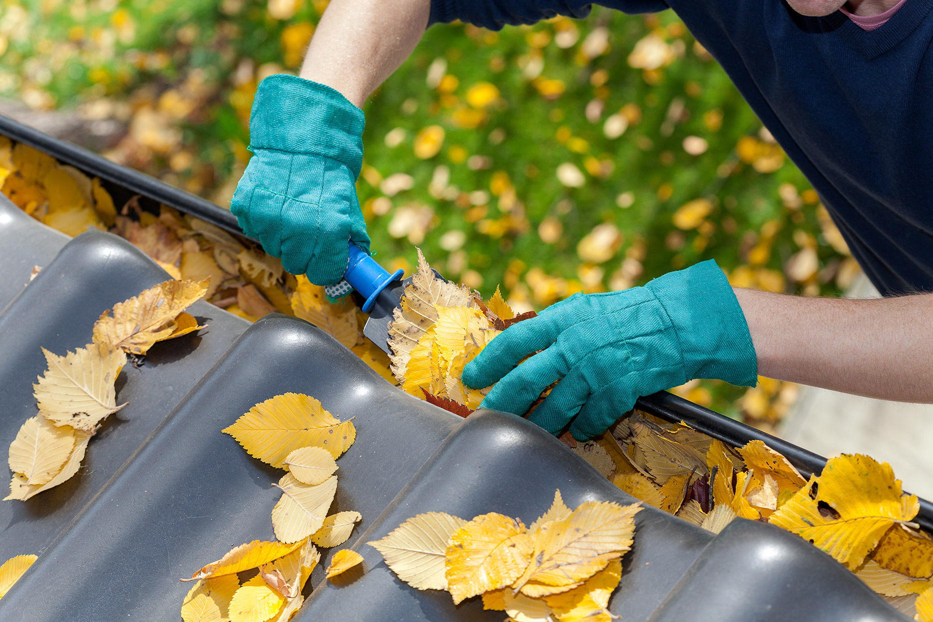 person cleaning leaves from gutter of a home