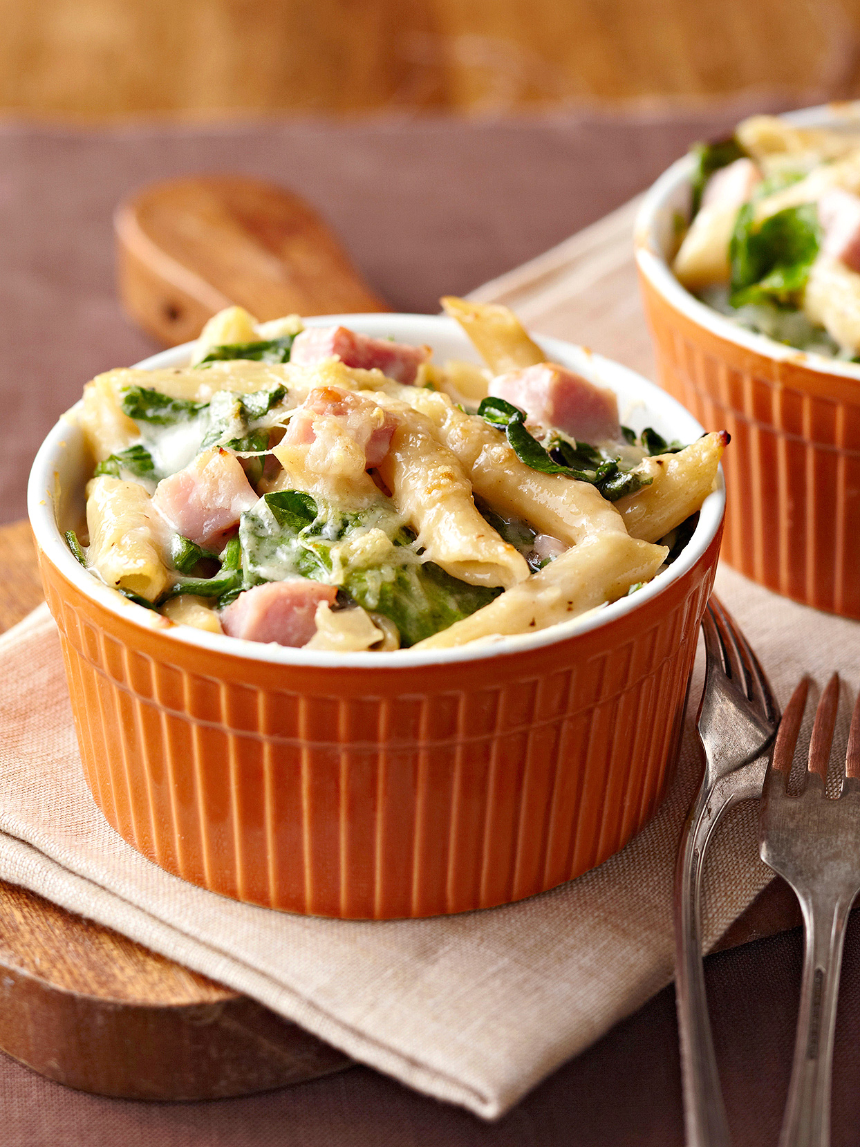 Ham Spinach Two-Cheese Pasta