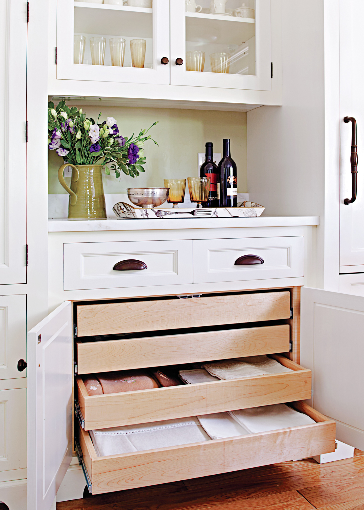 storage drawers table linens